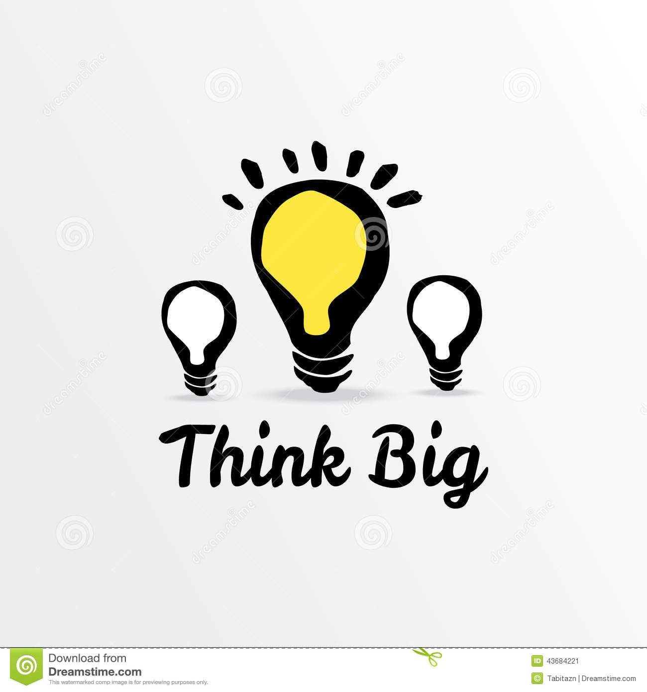 Think Big Light Bulb Sketch Illustration Stock Vector