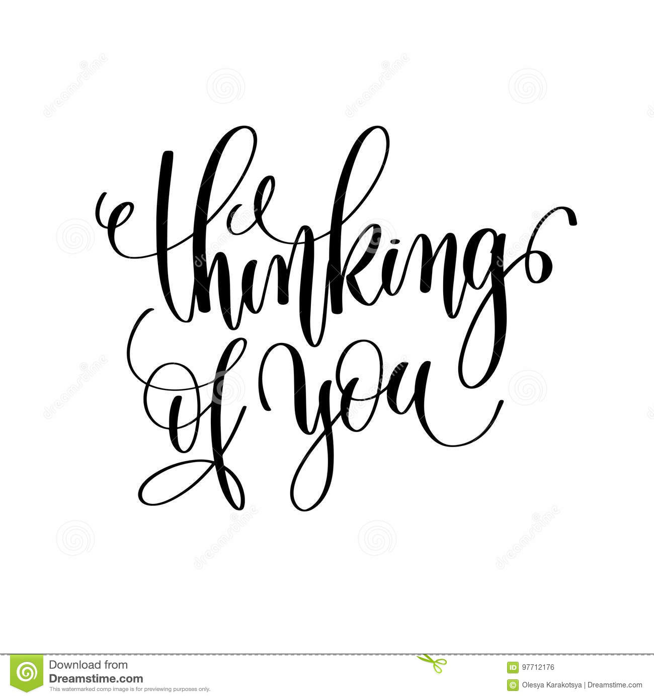 Thinking Of You Black And White Hand Lettering Inscription