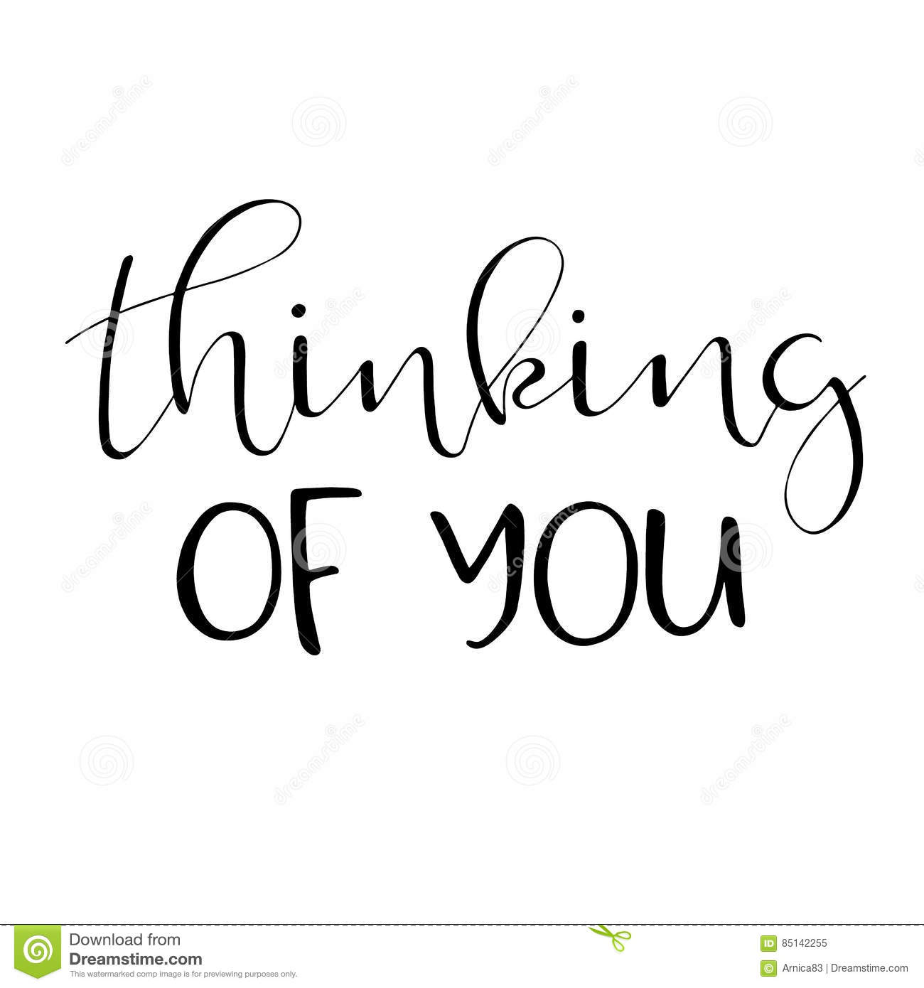 Thinking Of You Hand Lettered Quote Stock Vector