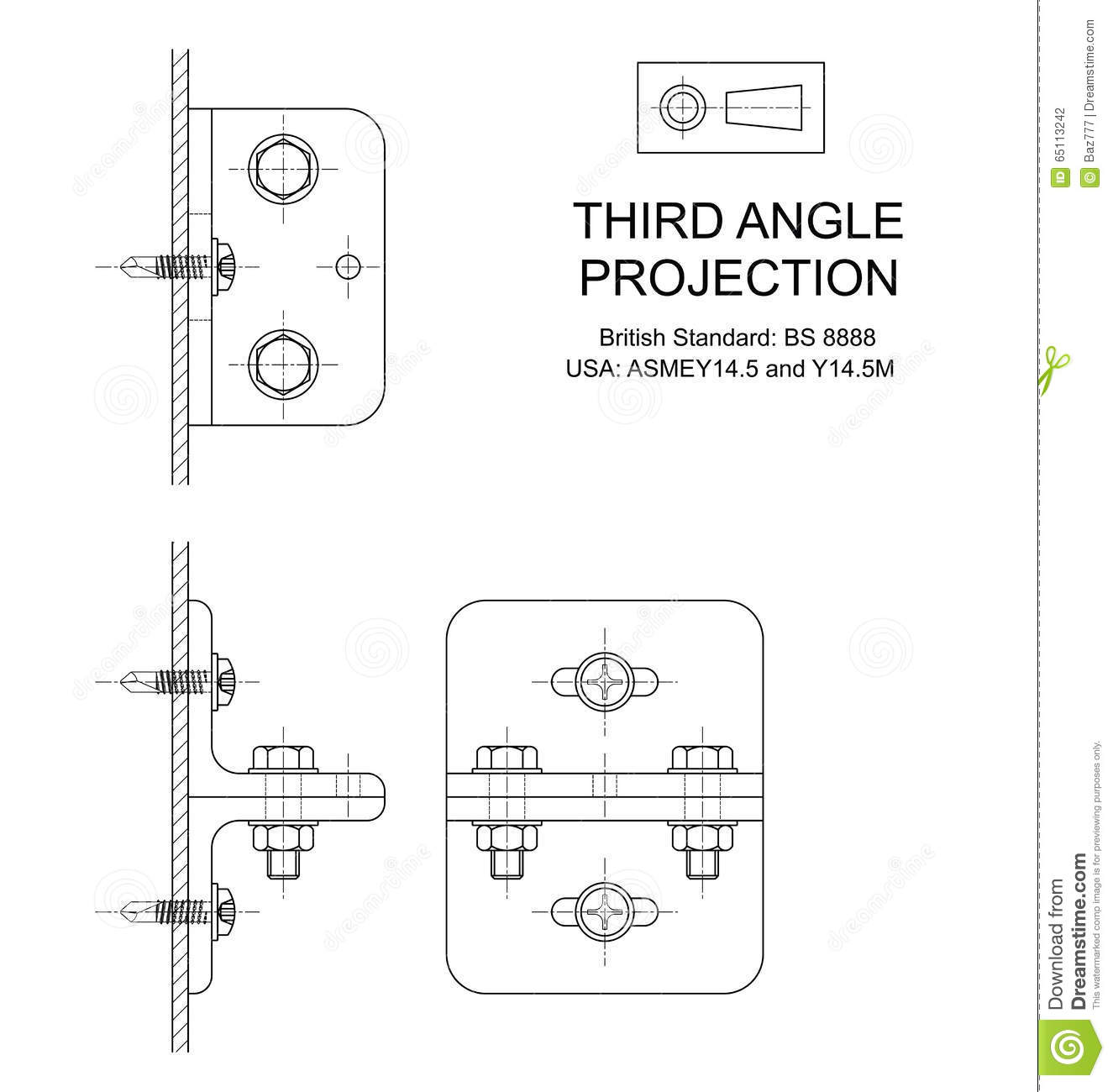 Third Angle Orthographic Projection Stock Vector