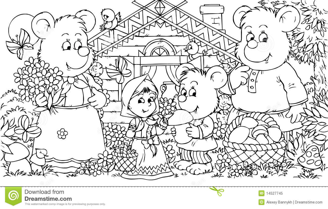Three Bears And Little Girl Royalty Free Stock Photo