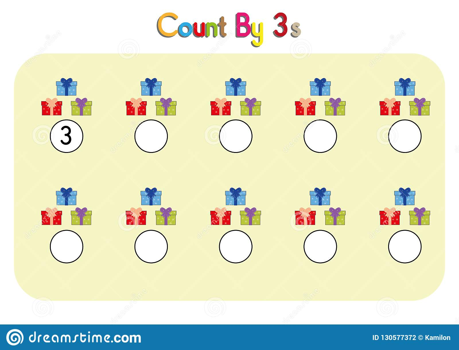 Three Counting Activity Math Worksheet Count By Three
