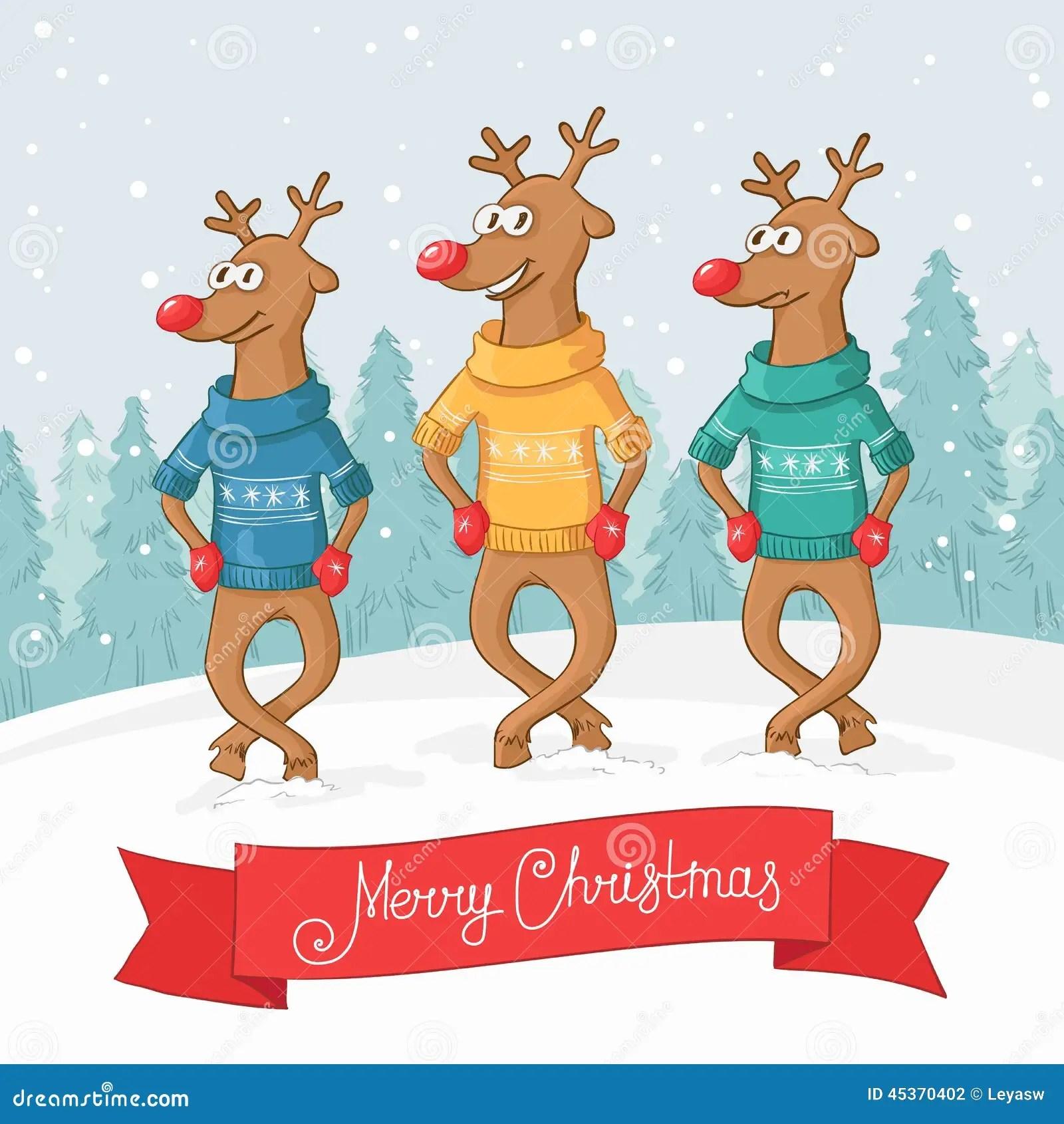Three Deer Dance Winter Forest Landscape Postcard Merry