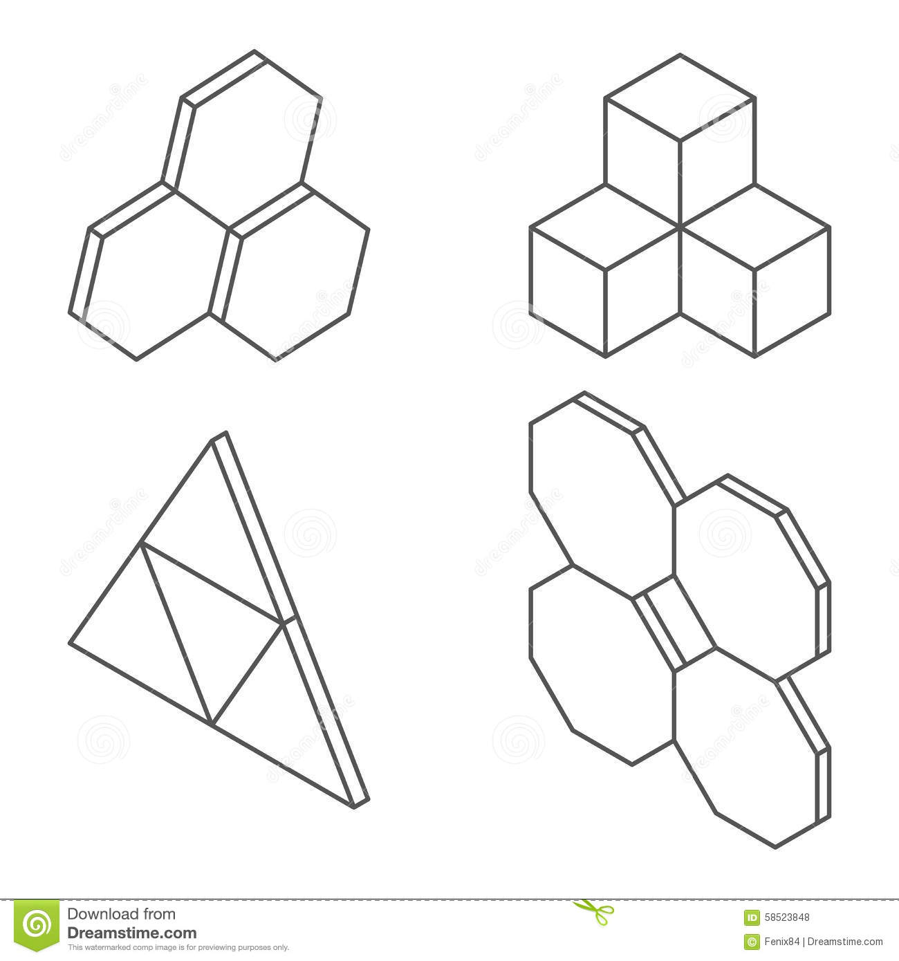 Three Dimensional Shapes And Forms Stock Vector