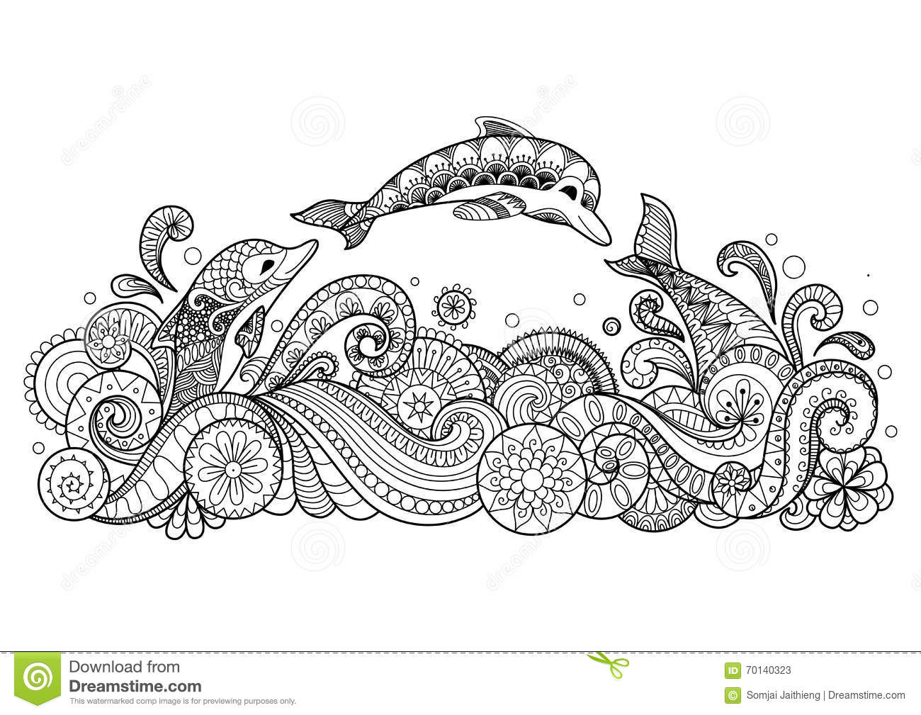 Three Dolphins Swimming Happily Zentangle Style For