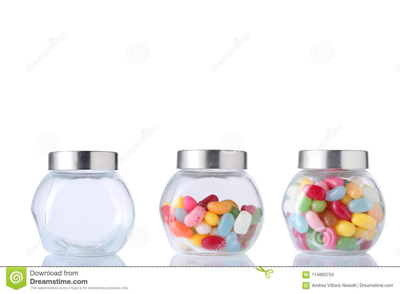 Three Glass Jar One Empty One Half Empty And One Full Of