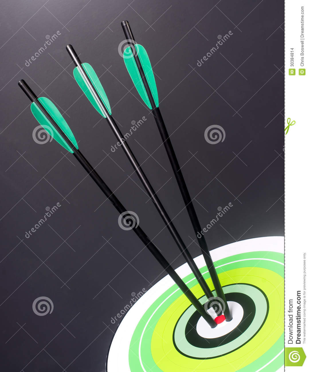 Three Green Black Archery Arrows Hit Round Target Bullseye
