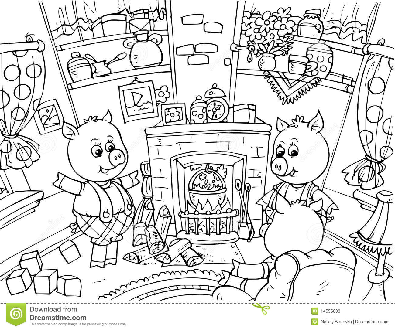 Three Little Pigs Stock Illustration Image Of Coloring