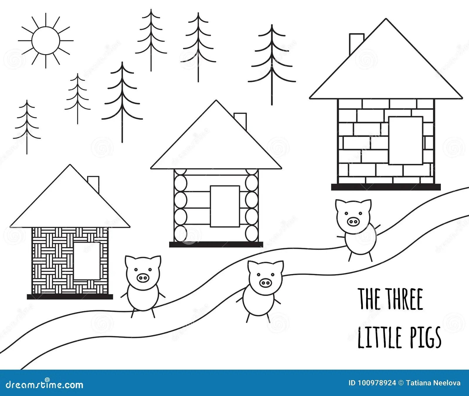 Three Little Pigs Fairy Tale Vector Illustration Isolated