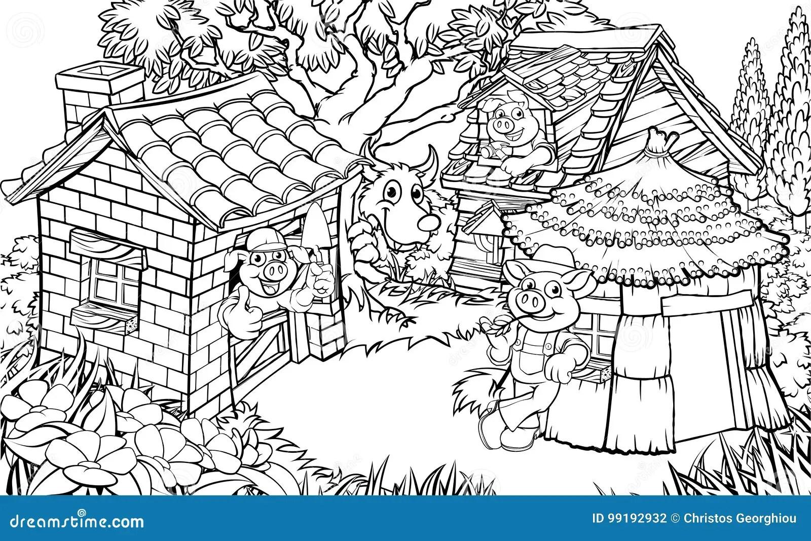 The Three Little Pigs Fairytale Stock Vector