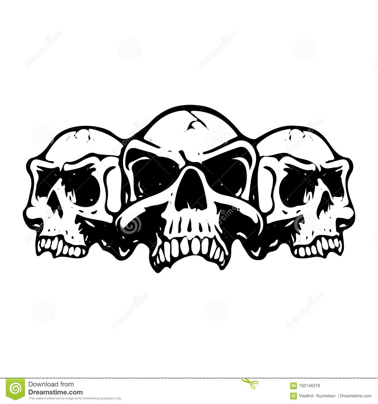 Three Scary Skulls Silhouette On White Background Stock