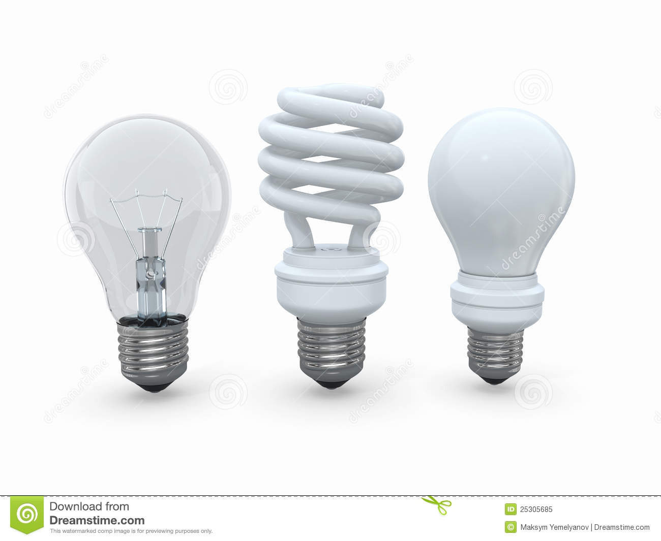 Three Types Of Lamp Bulbs On White Background Stock