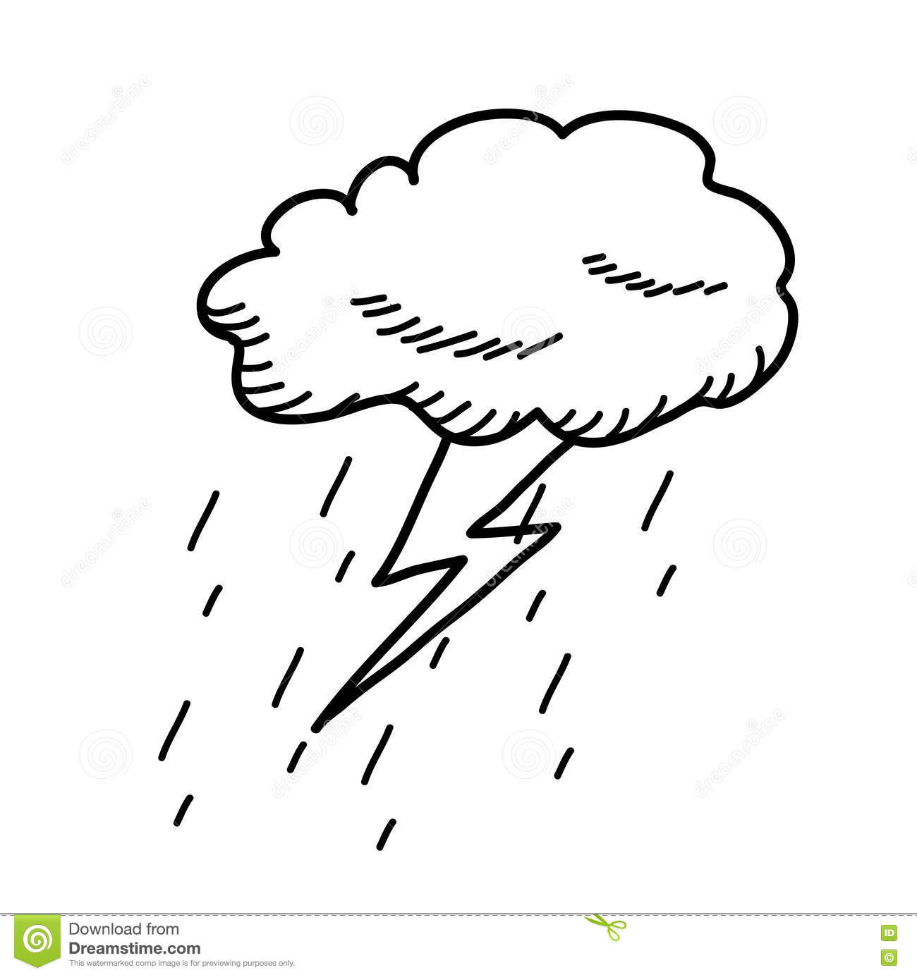 Thunderstorm Cloud Doodle Drawing Stock Vector