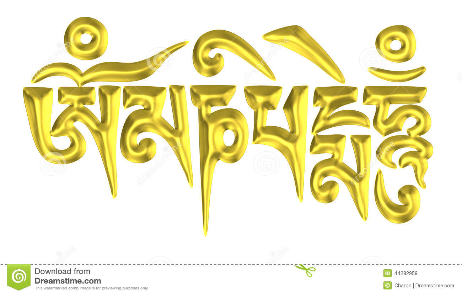Golden Six Word Tibet Buddhism Mantra Stock Photo Image