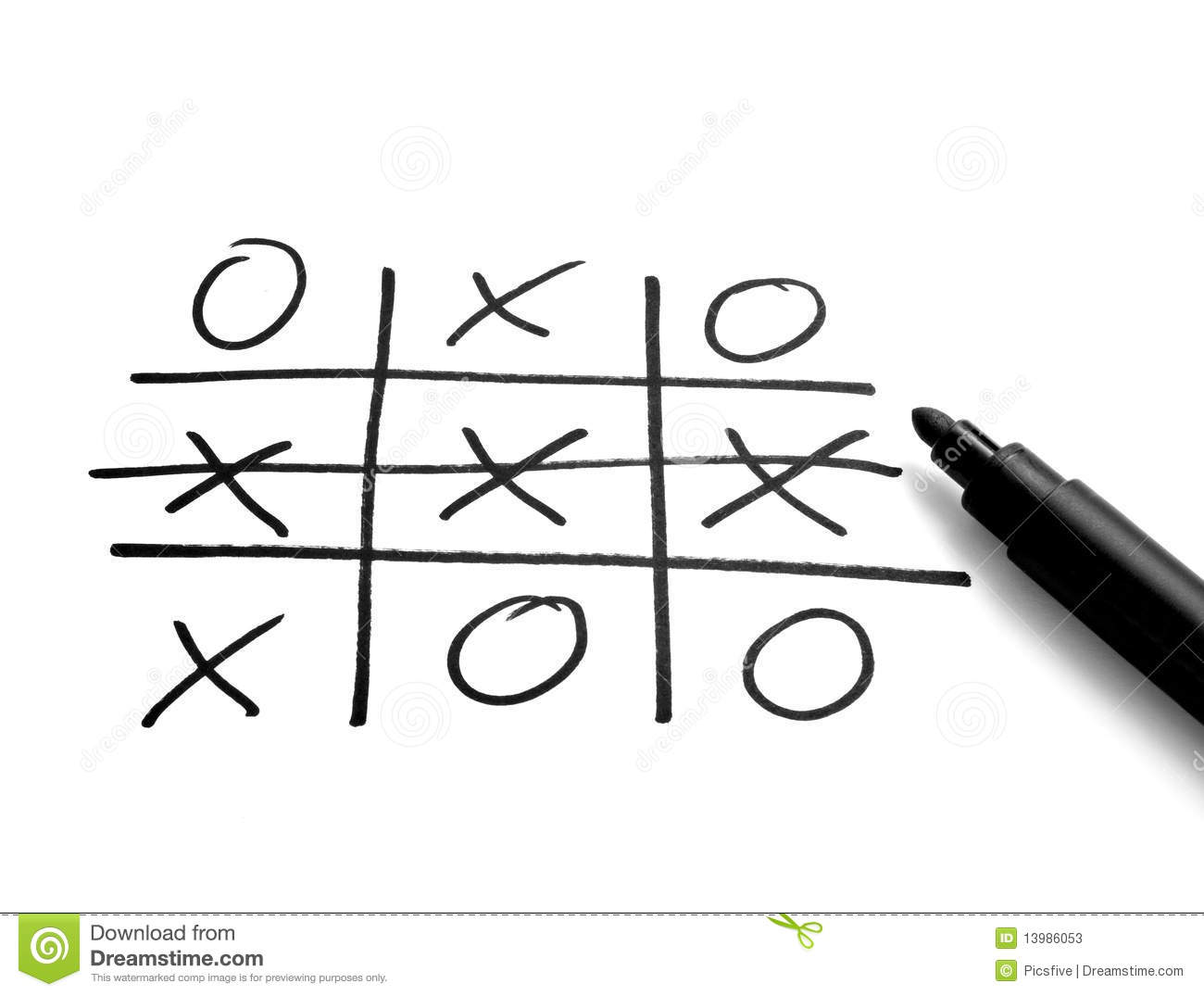Tic Tac Toe Leisure Game Mental Scribble Stock Photos