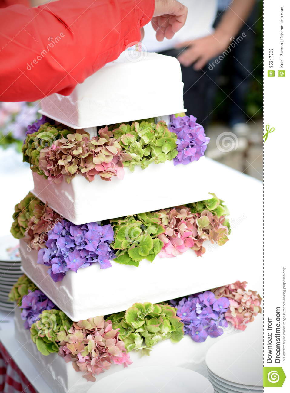 Tiered Wedding Cake With Flower Stock Photo Image 35347508