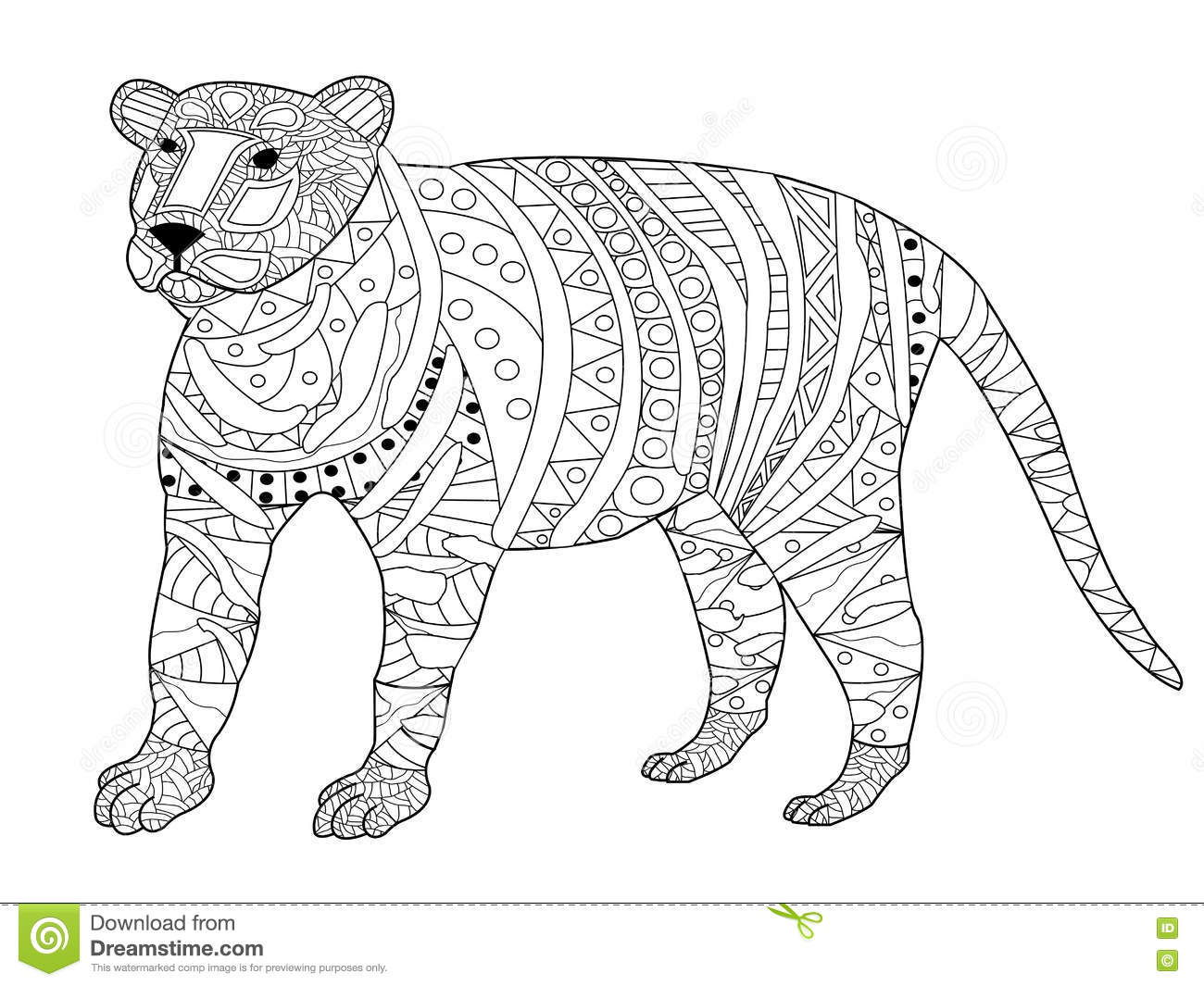 Tiger Coloring Vector For Adults Vector Illustration