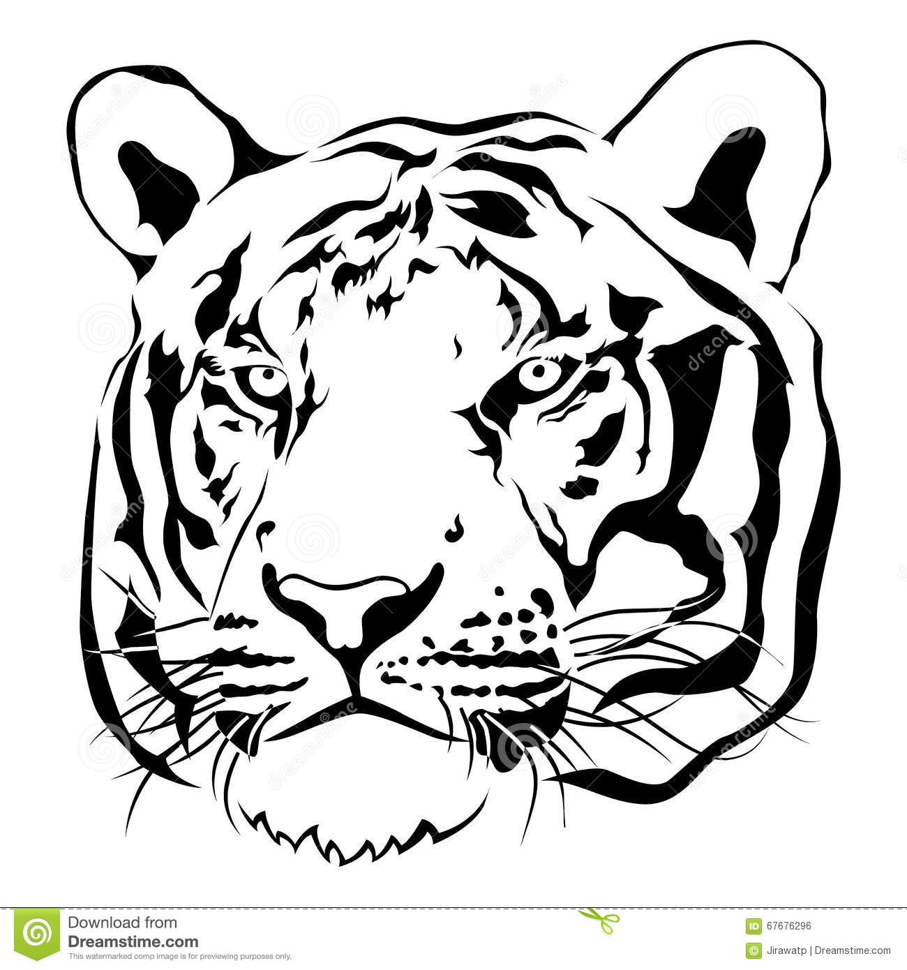 Tiger Head Black And White Vector Stock Vector