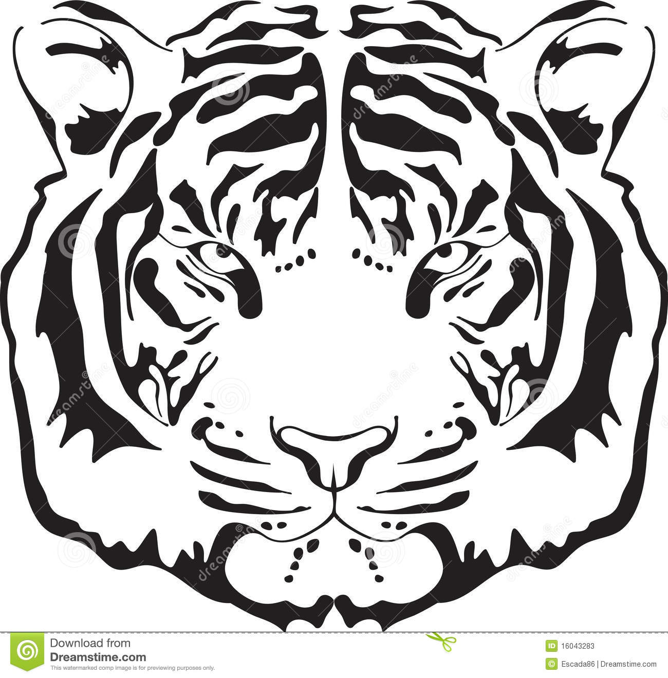 Tiger Head Silhouette Stock Photos
