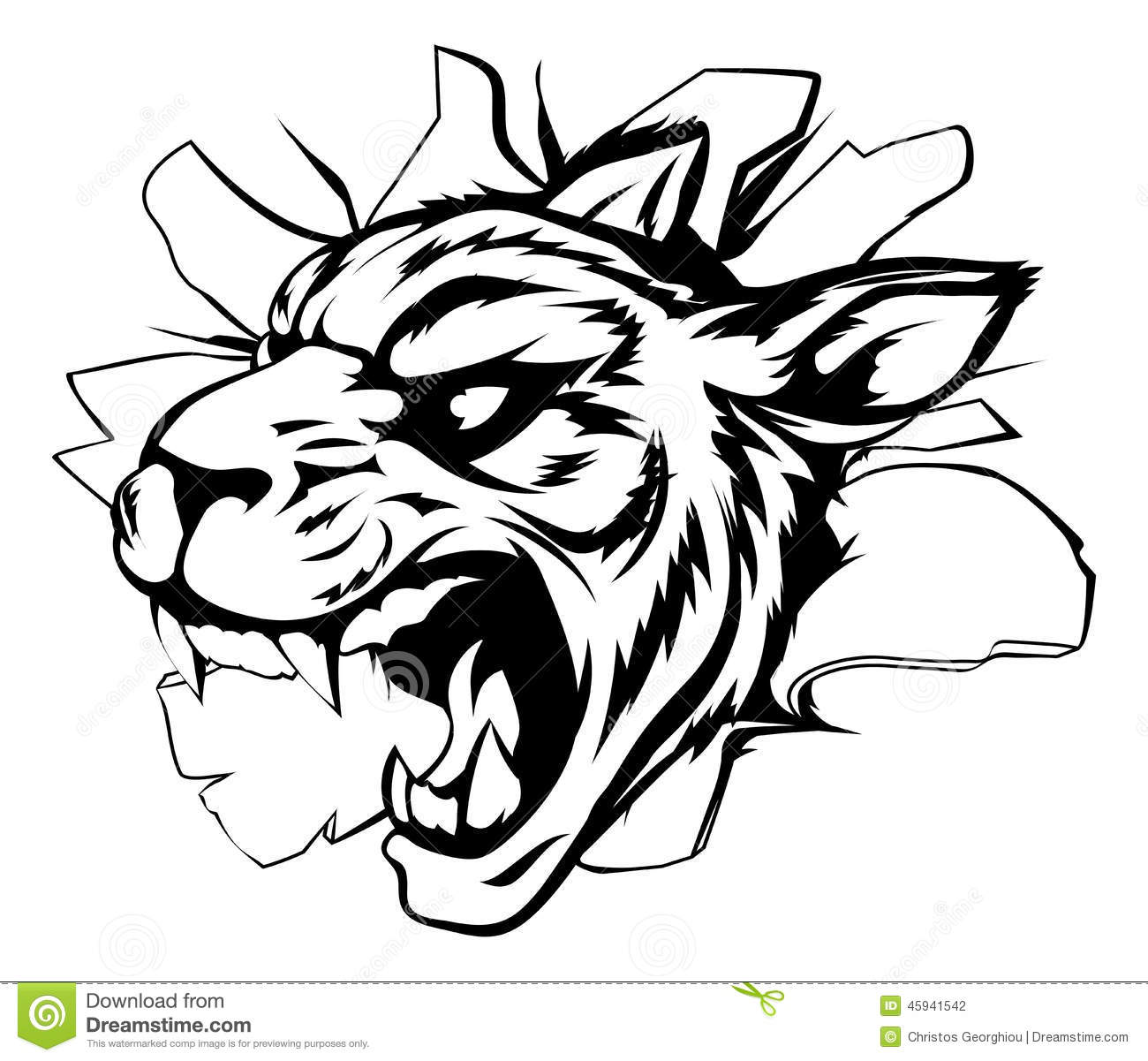 Tiger Mascot Breaking Through Wall Stock Vector