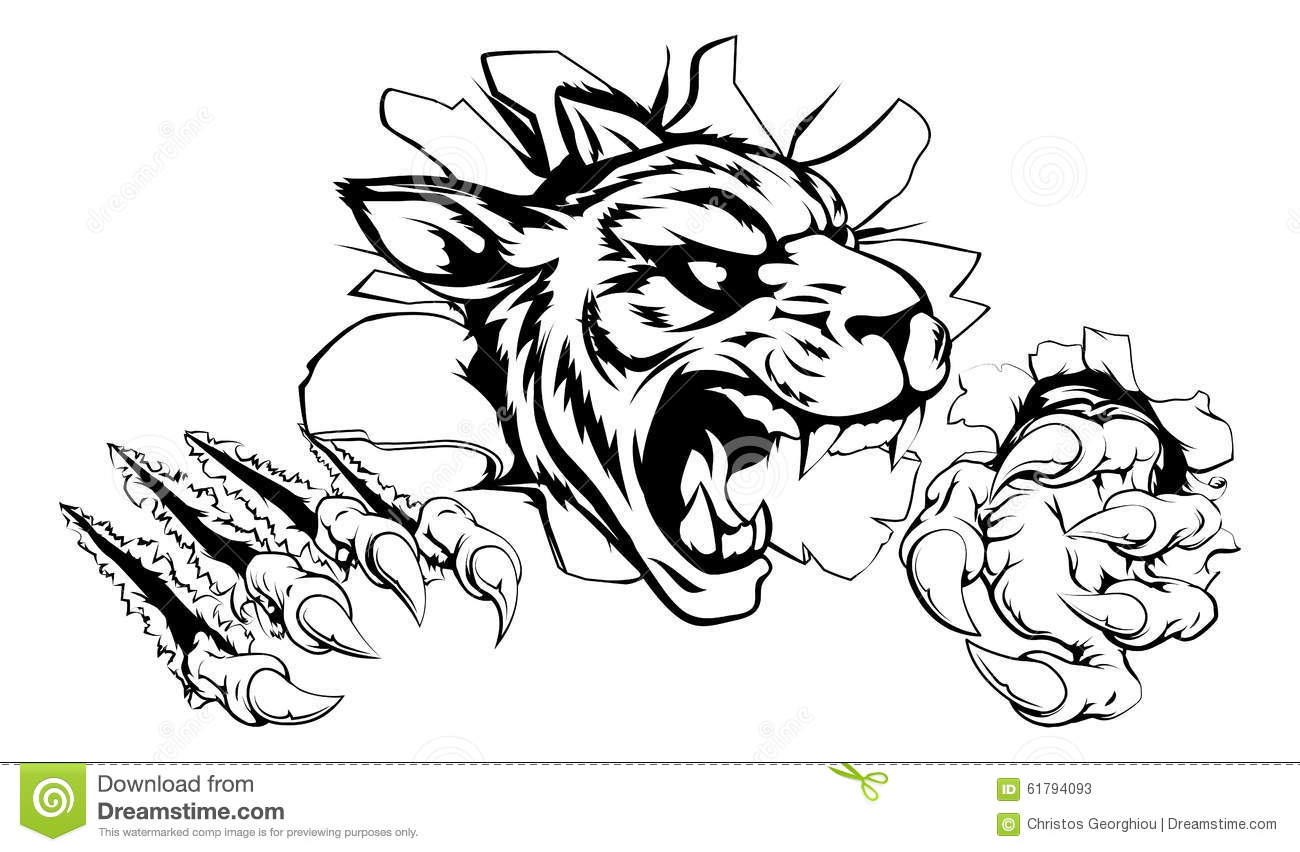Tiger Ripping Through Wall Stock Vector Illustration Of