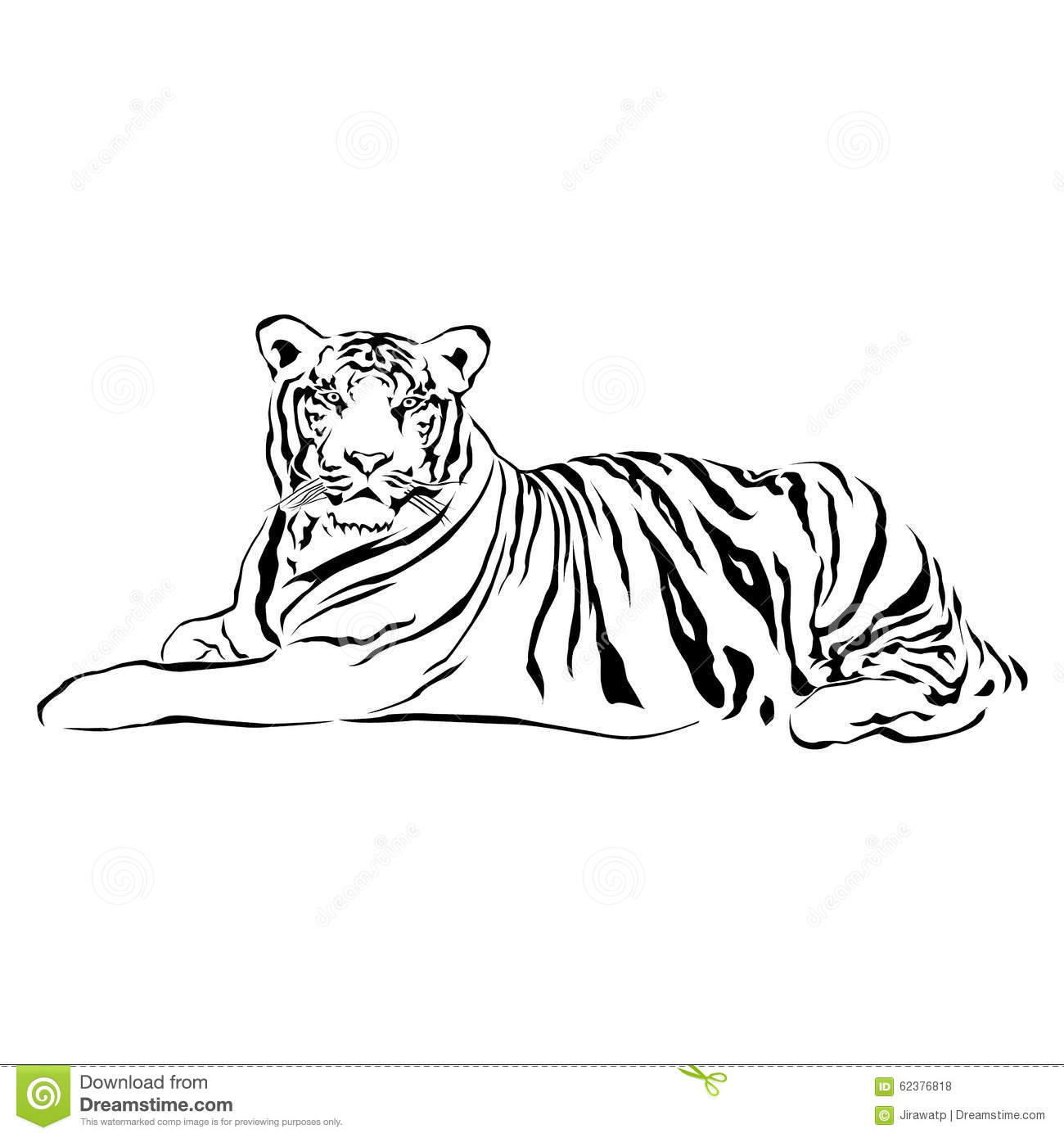 Tiger Sitting Black And White Vector Stock Vector