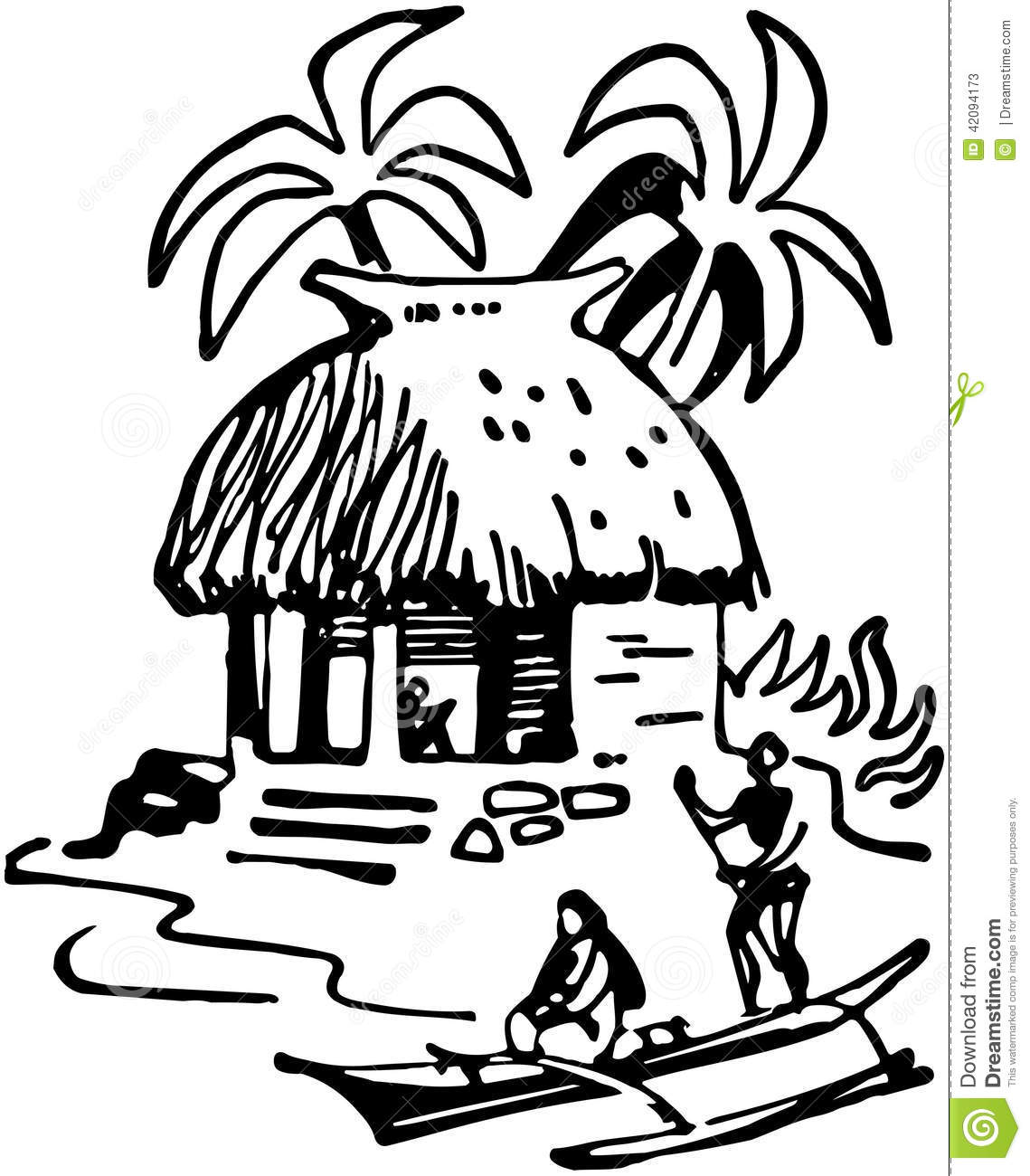 Tiki Hut Stock Vector Illustration Of Huts Guys People