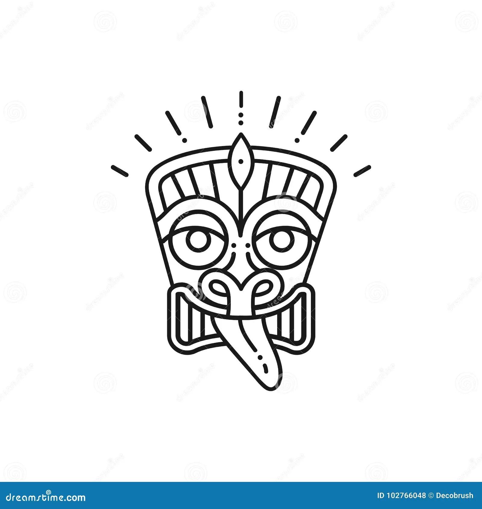 Hawaiian Tiki Statue Cartoon Vector