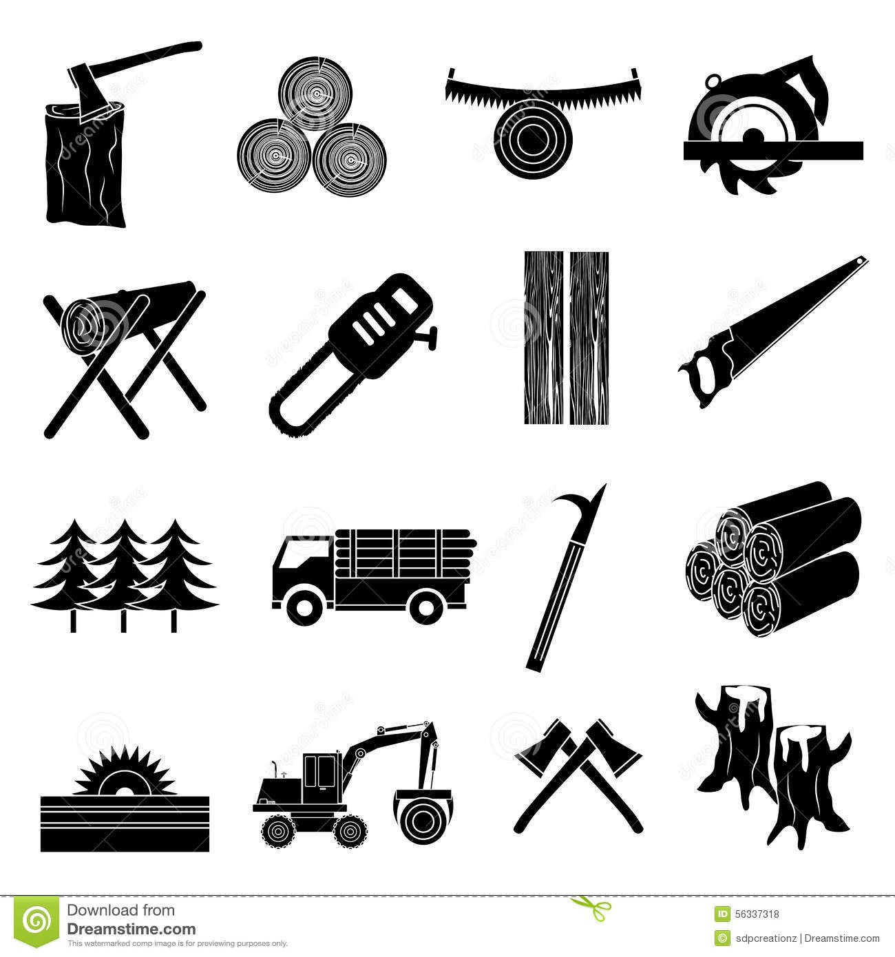 Timber Icons Set Stock Vector Illustration Of Beams