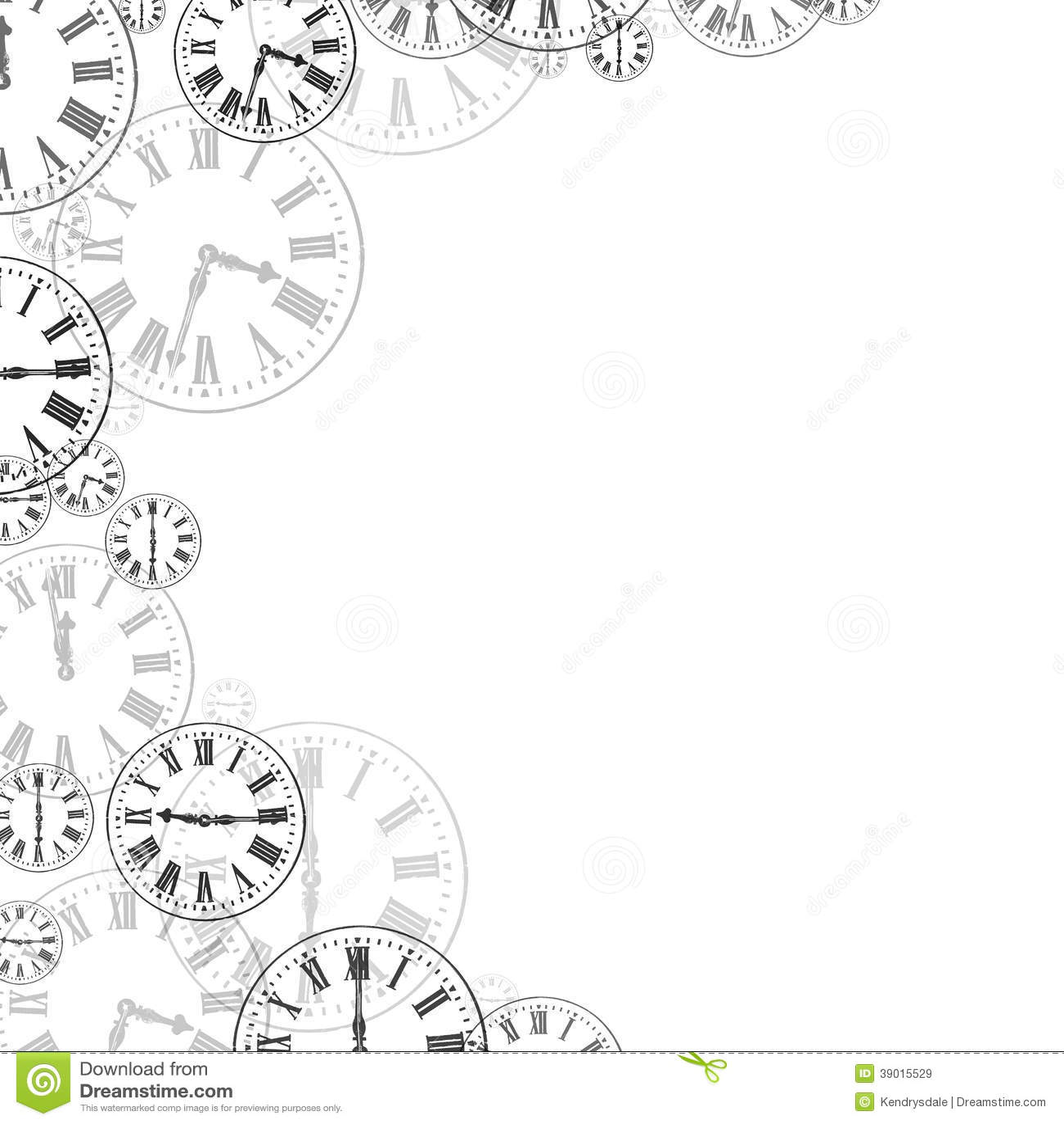 Time Clocks Black Amp White Background Border Stock