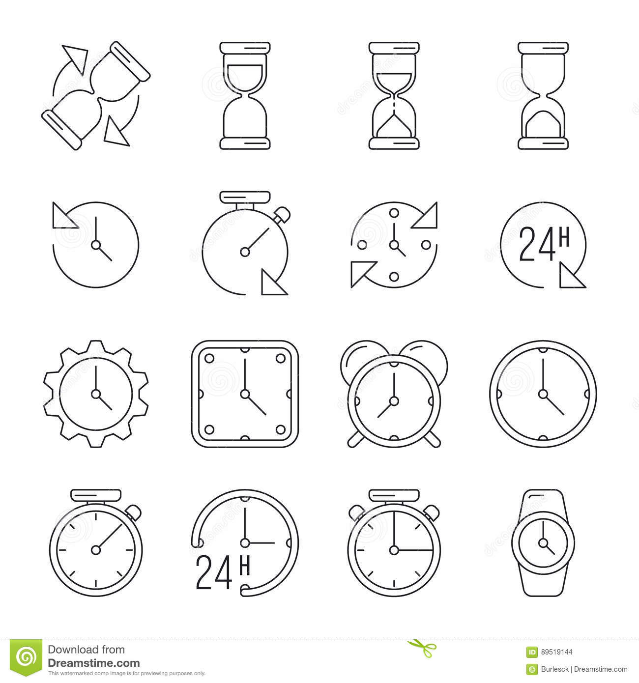 Time Management Sand Clock 24 Hours Thin Line Vector Set