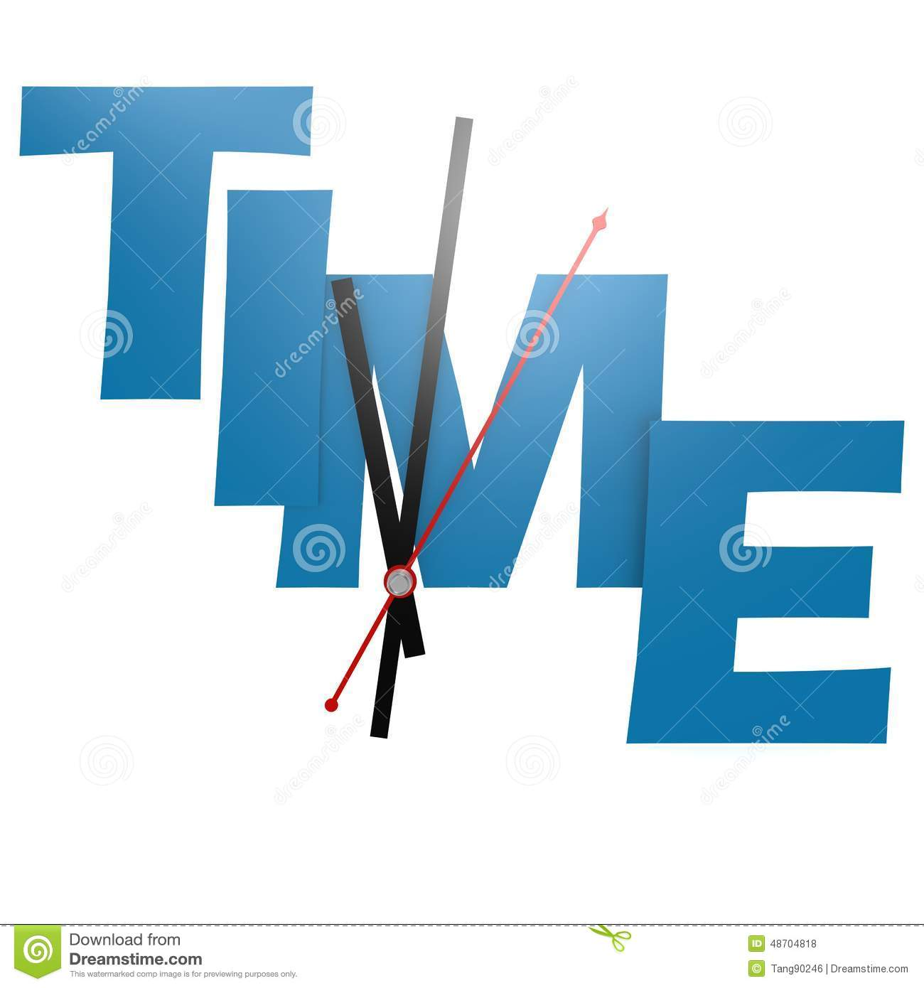 Time Word With Clock Stock Illustration Illustration Of