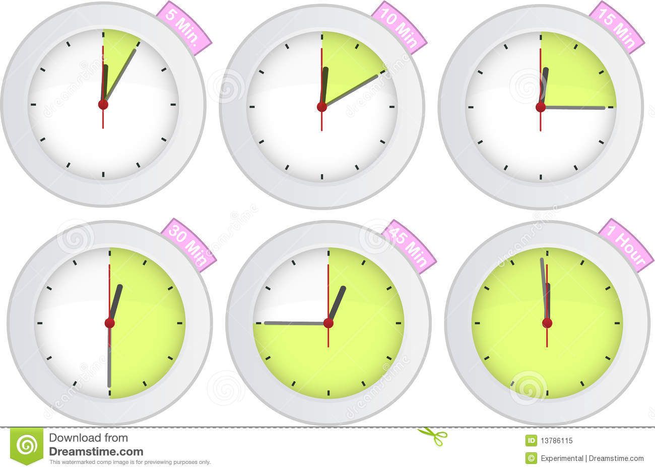 Timer Clock With 5 10 15 30 45 60 Min Signs Stock