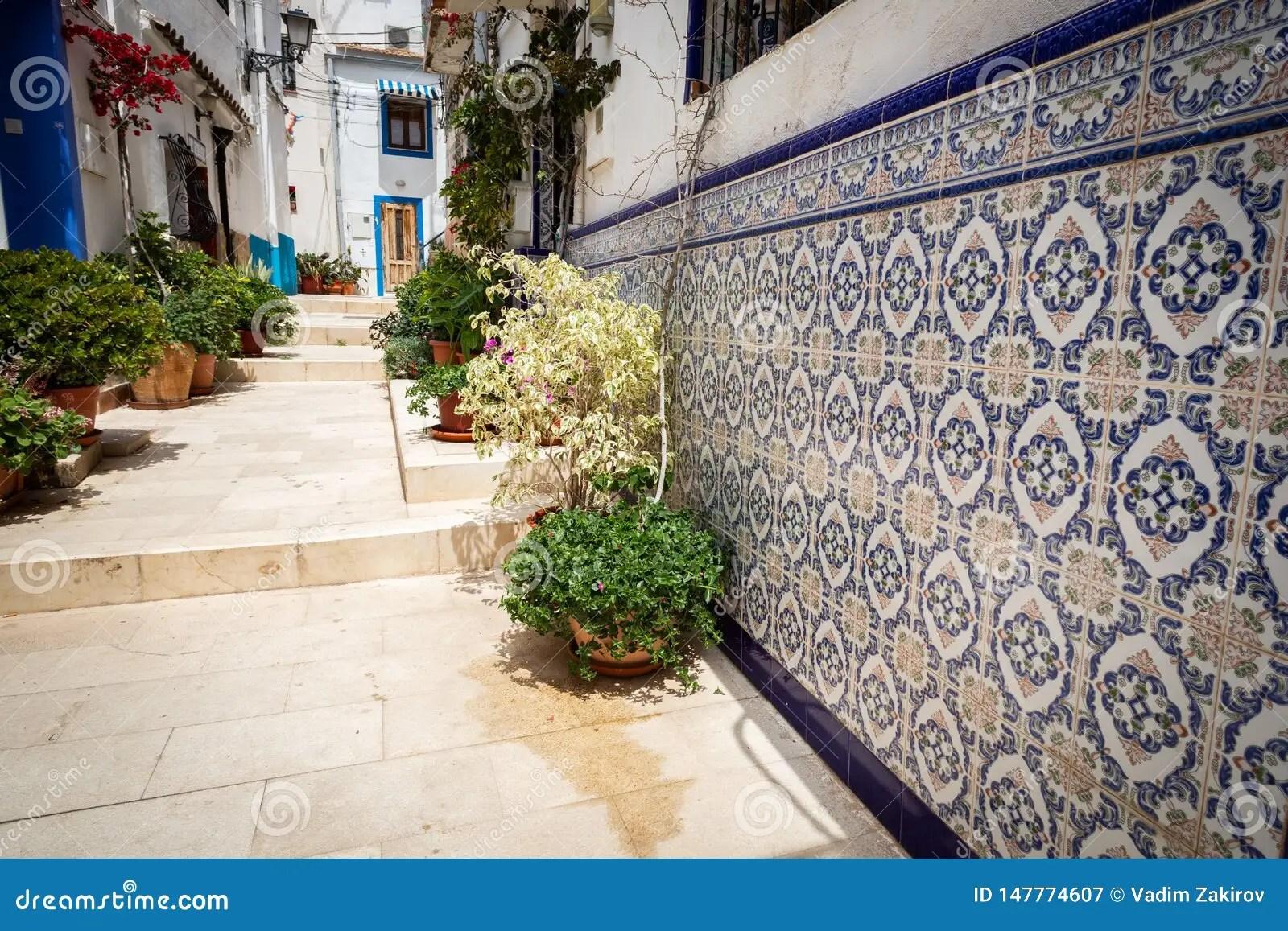 https www dreamstime com tipical spanish tile house street santa cruz disctrict alicante spain image147774607