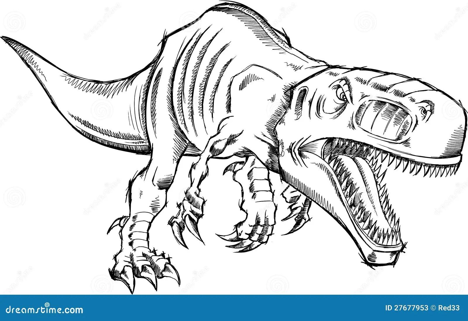 Tiranossauro Rex Dinosaur Do Esboco Ilustracao Do Vetor