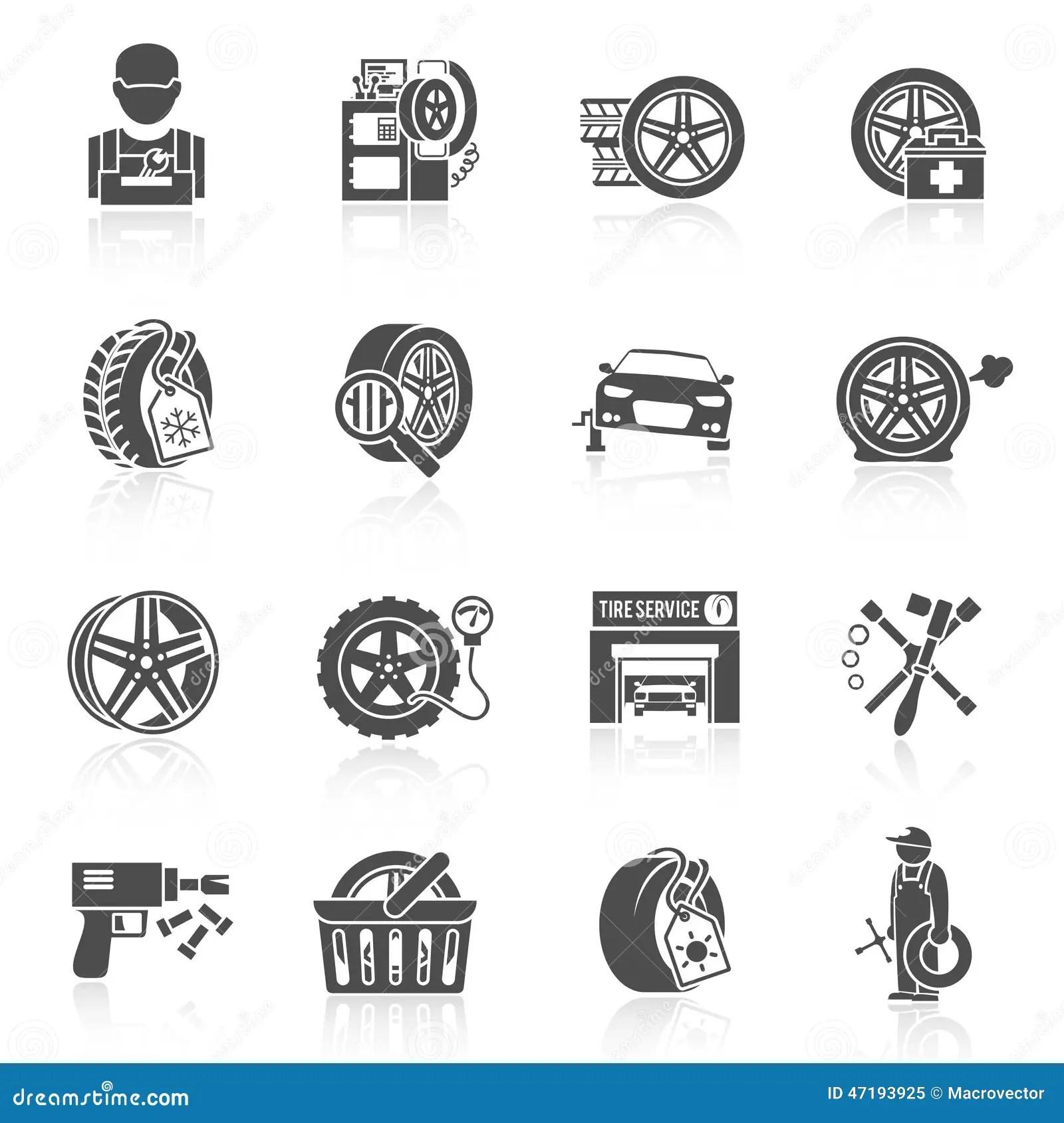 Tire Service Icon Black Stock Vector
