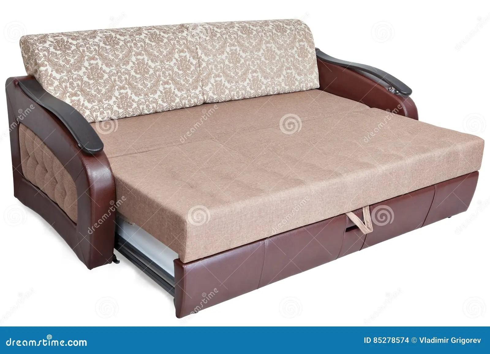 la reine taille retirent le tissu brun clair de canape lit et l espace memoire d isolement sur le fond blanc enregistre la selection de chemin