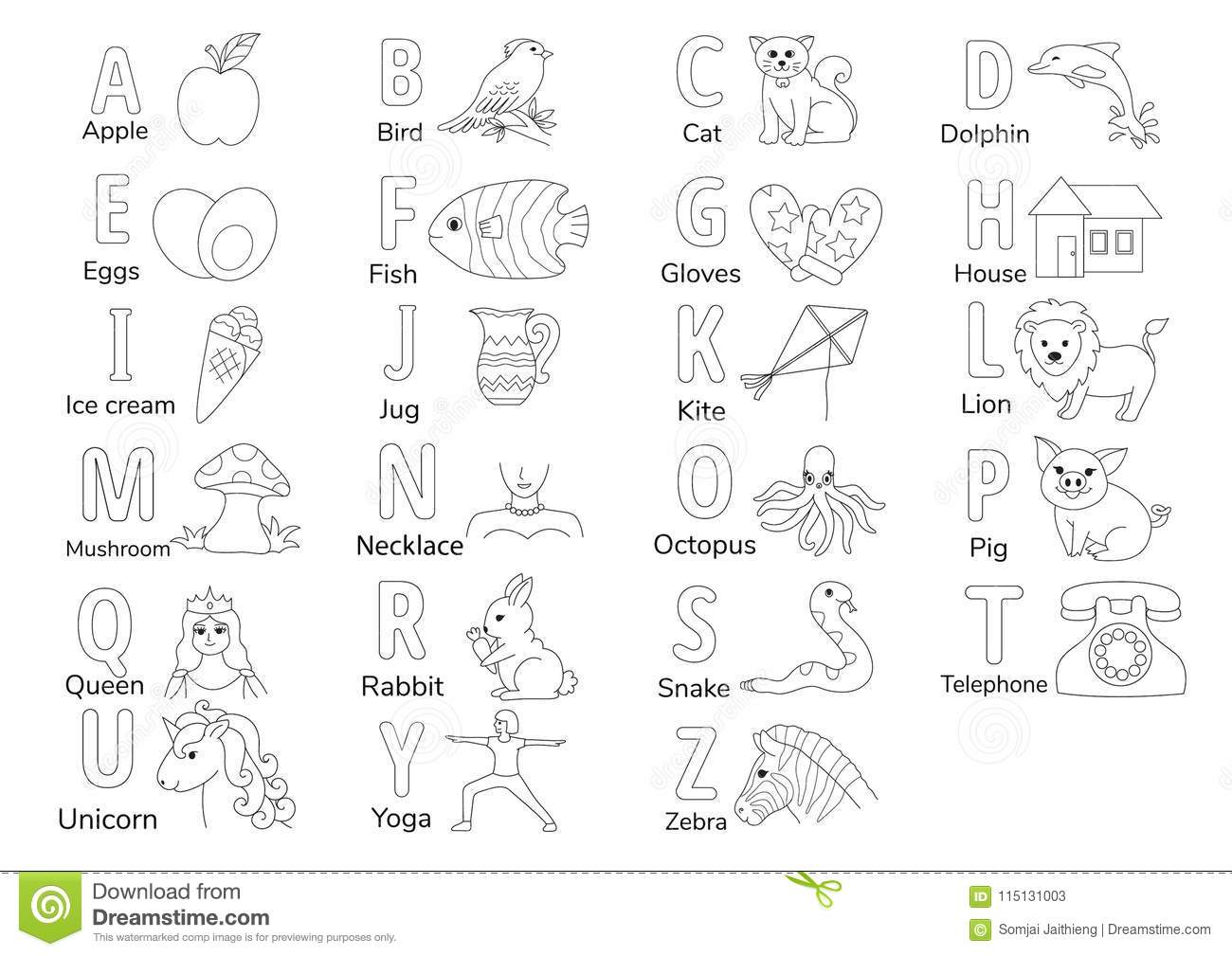 A To Z Stock Vector Illustration Of Printable Preschool