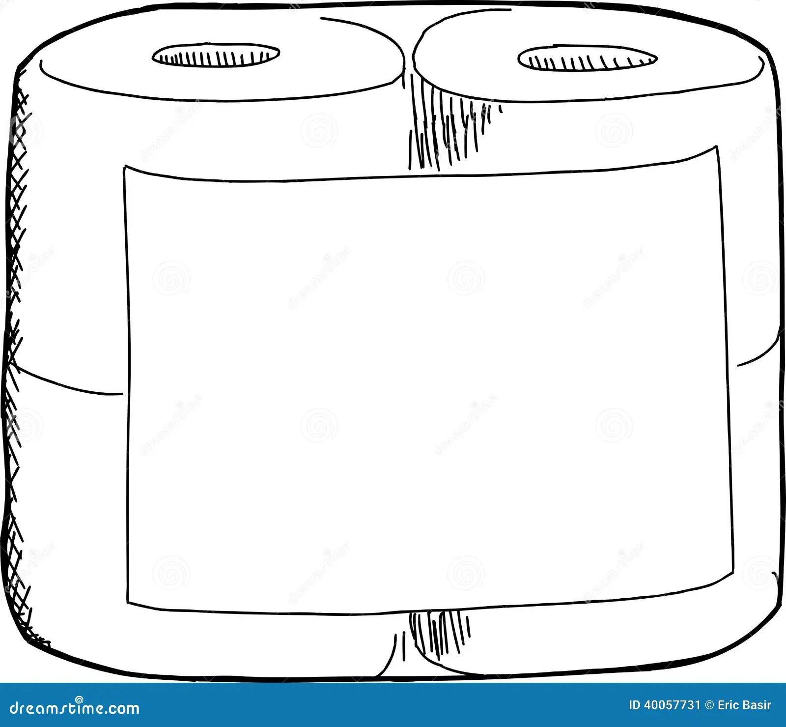 Toilet Paper Sketch Stock Vector