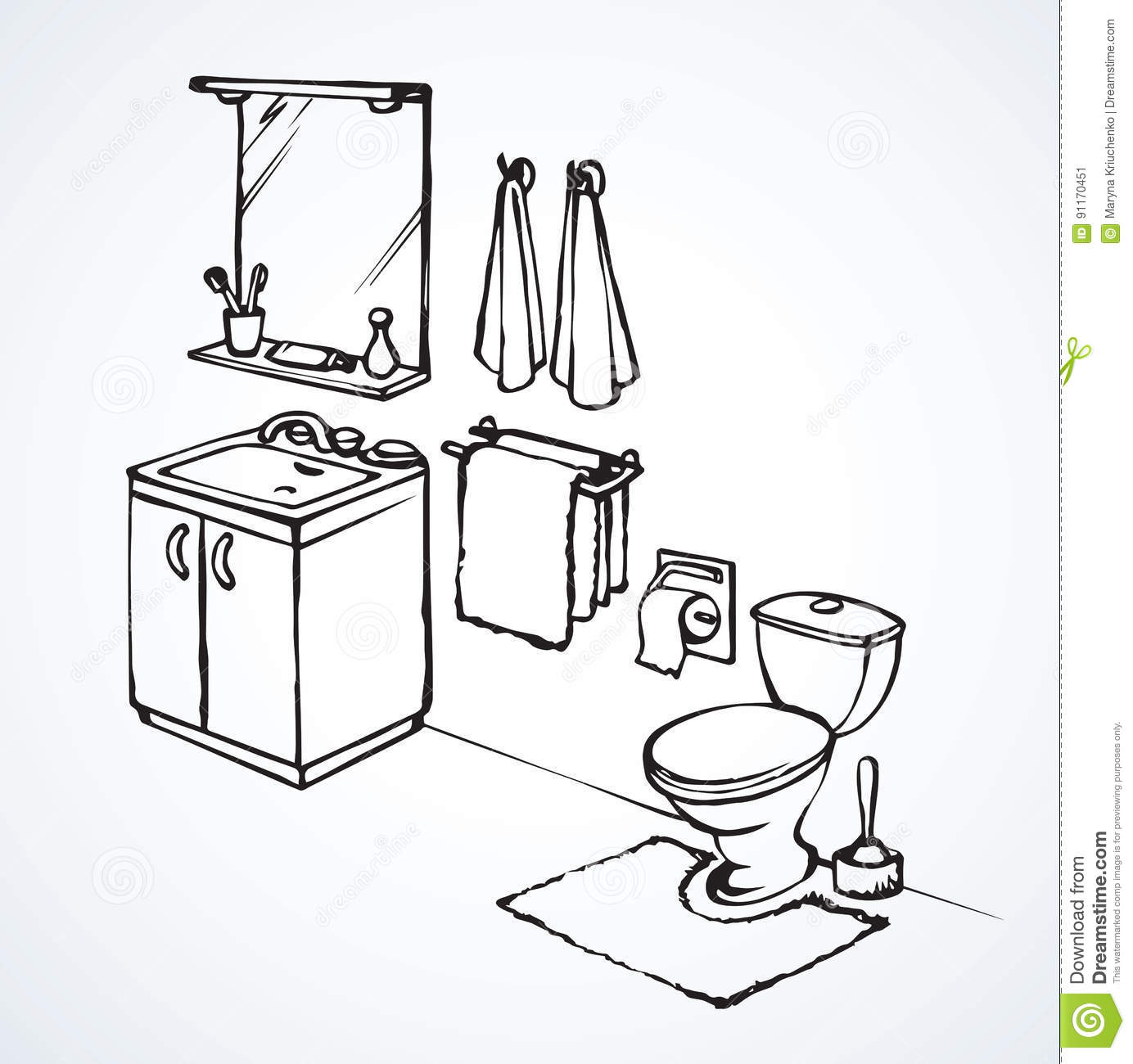 Toilet Vector Drawing Stock Vector Illustration Of