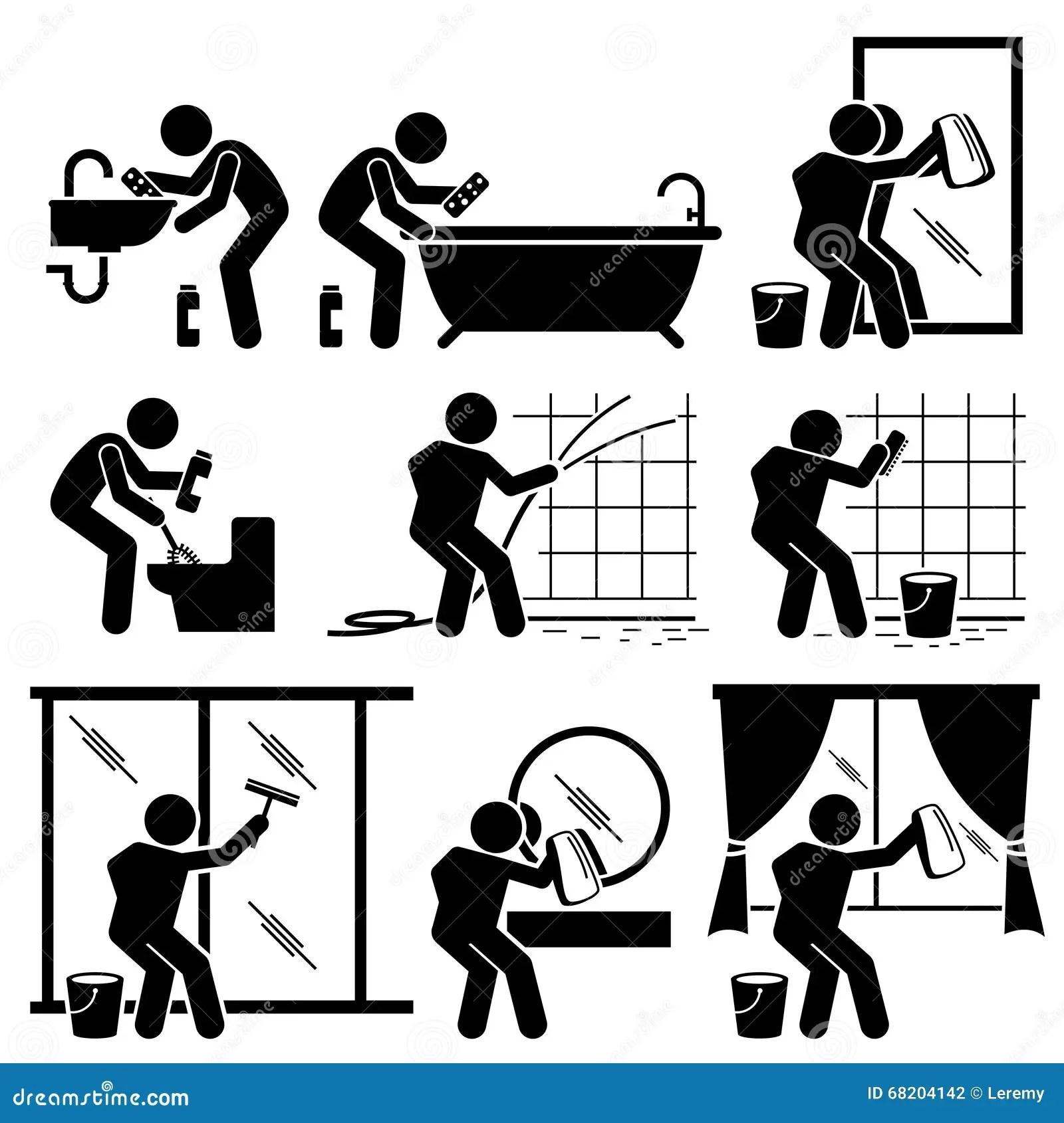 Toilette Windows De Salle De Bains De Nettoyage D Homme Et