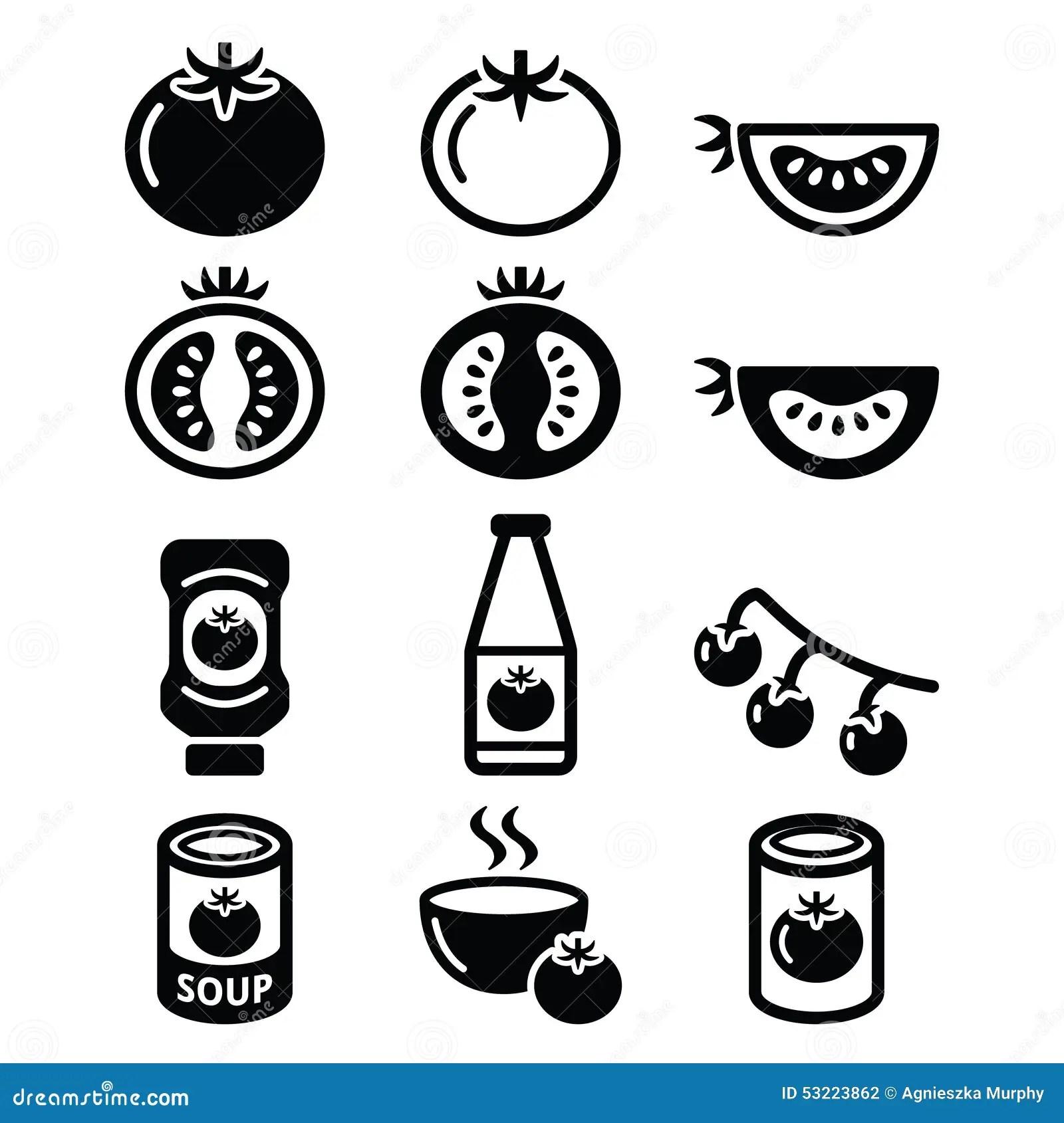 Tomato Ketchup Tomato Soup Icons Set Stock Illustration