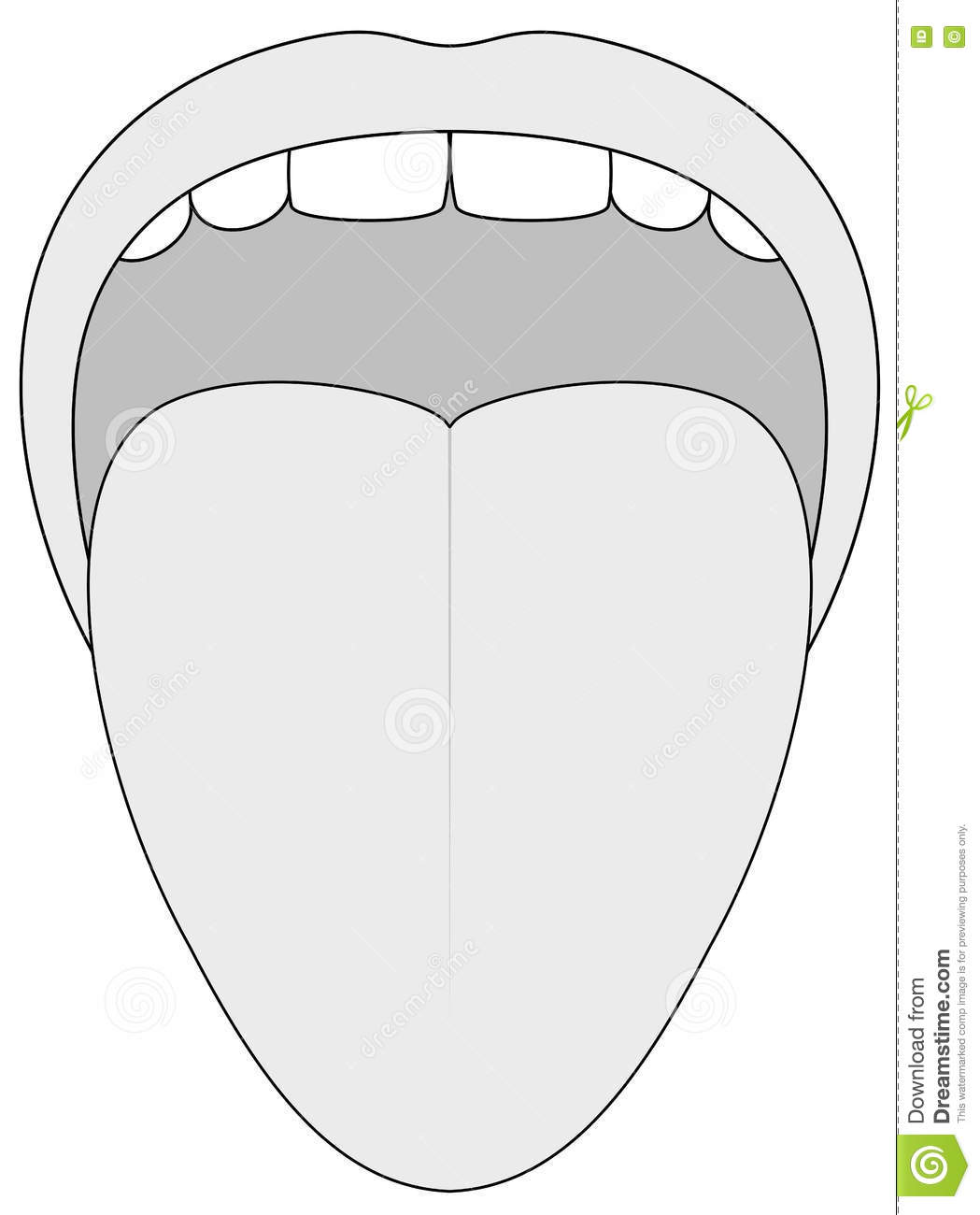 Tongue Outline Illustration Stock Vector