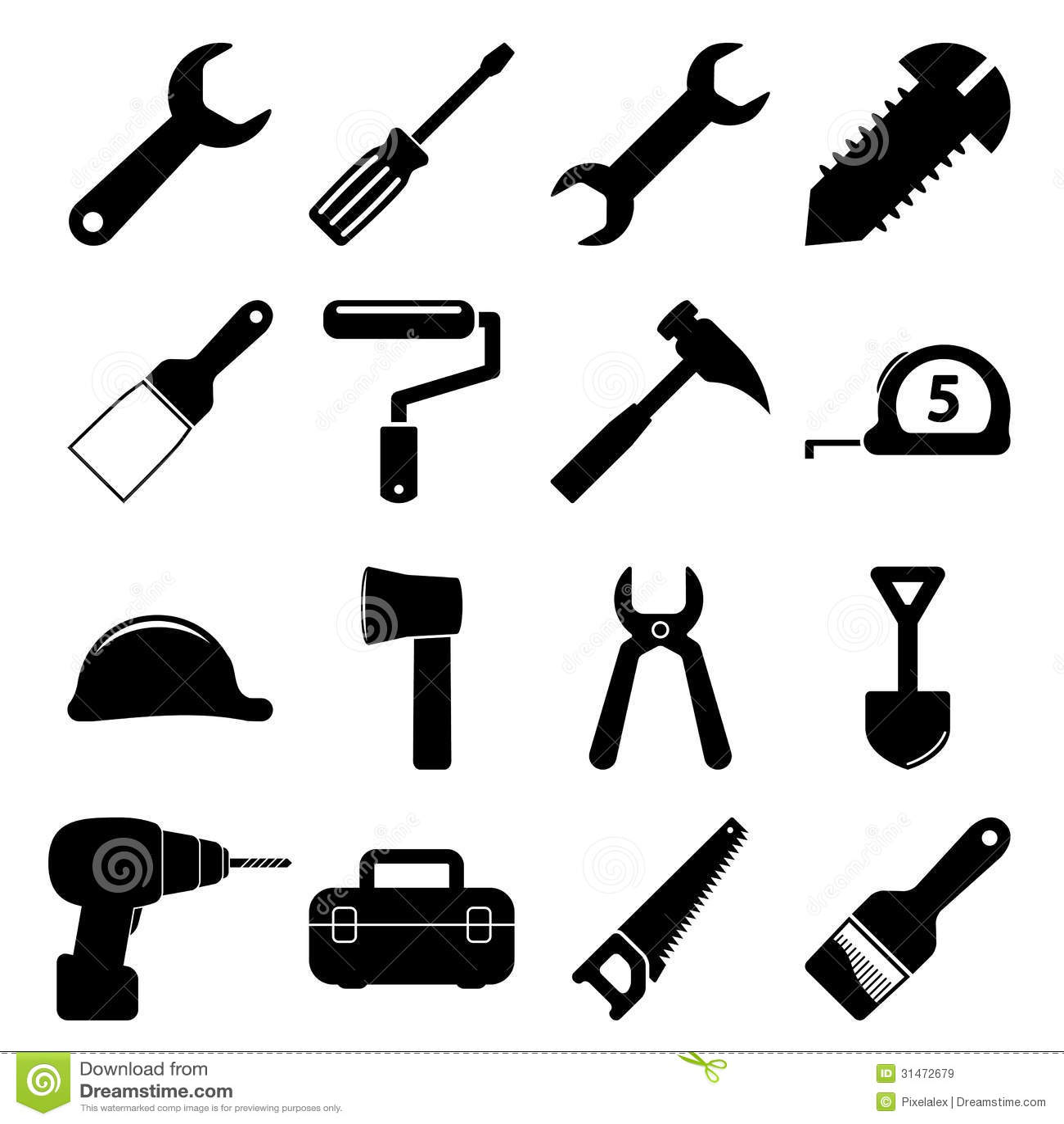 Tools Icons Cartoon Vector