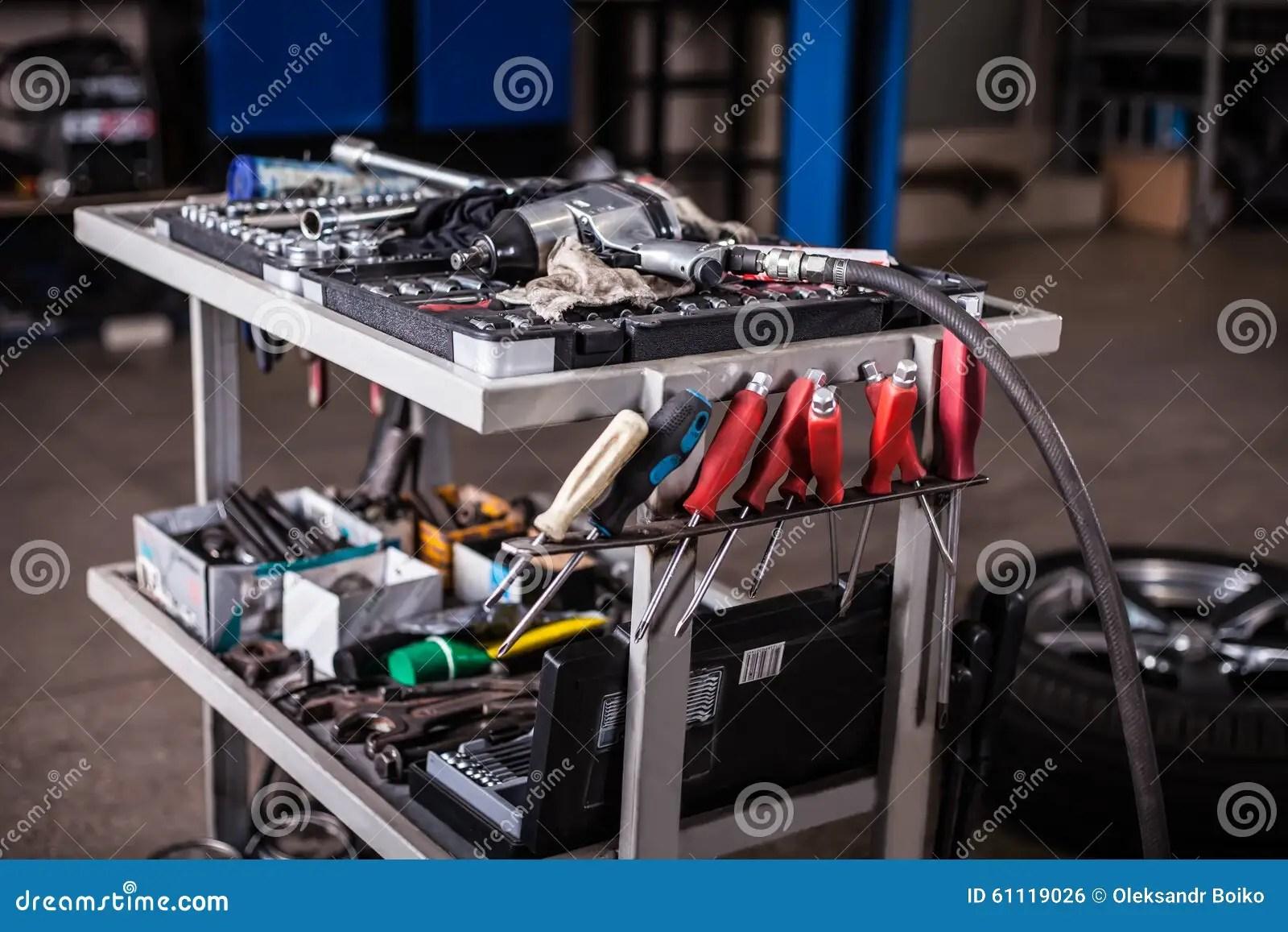 Tools In Mechanic Garage Stock Photo Image 61119026