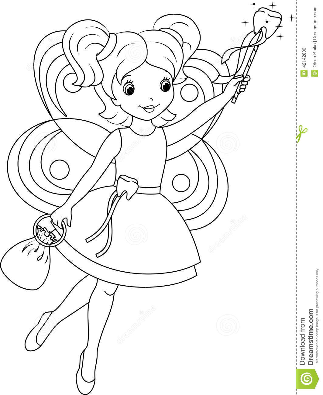 Tooth Fairy Coloring Page Stock Vector Illustration Of