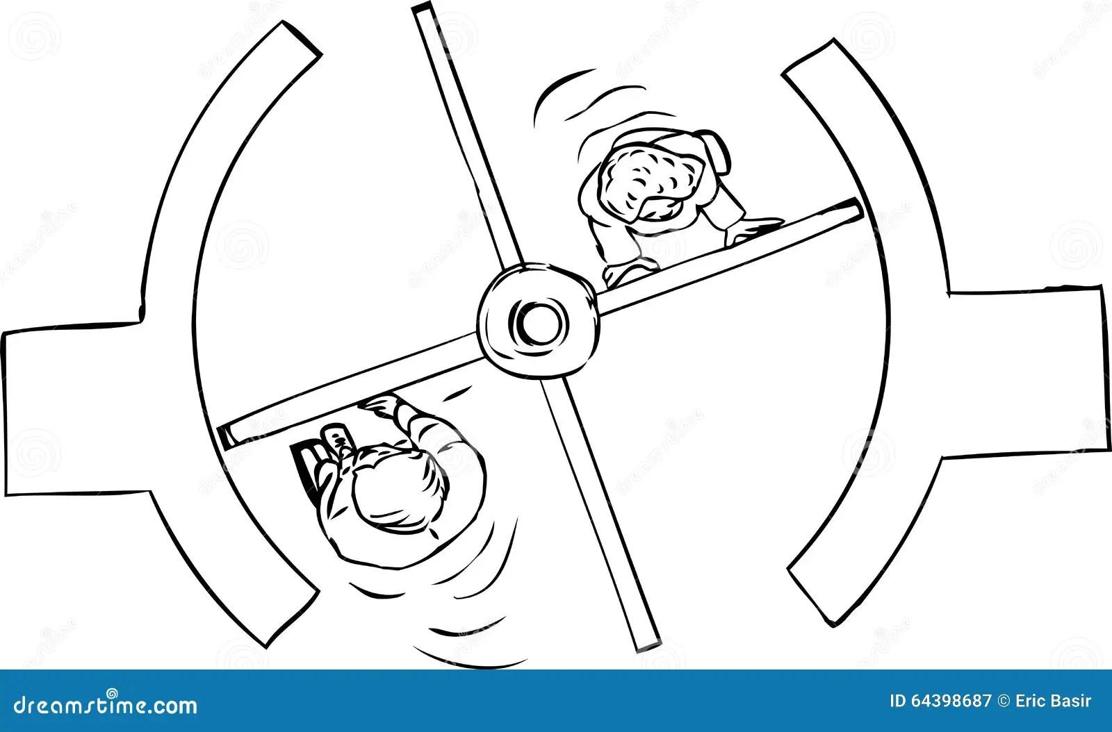 Top Down Of Revolving Door Outline Stock Illustration