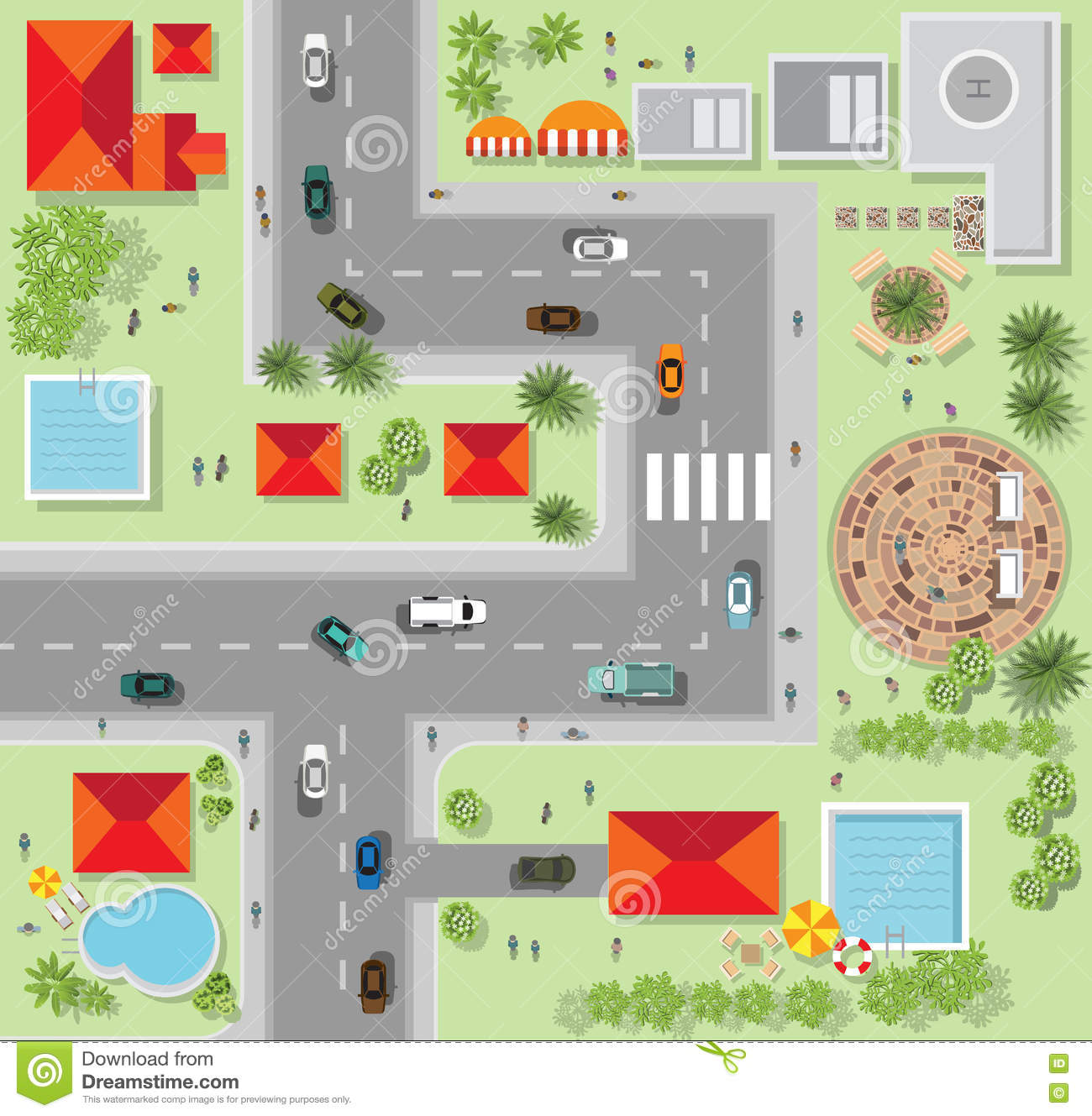Top View Of The City Of Streets Roads Houses Vector