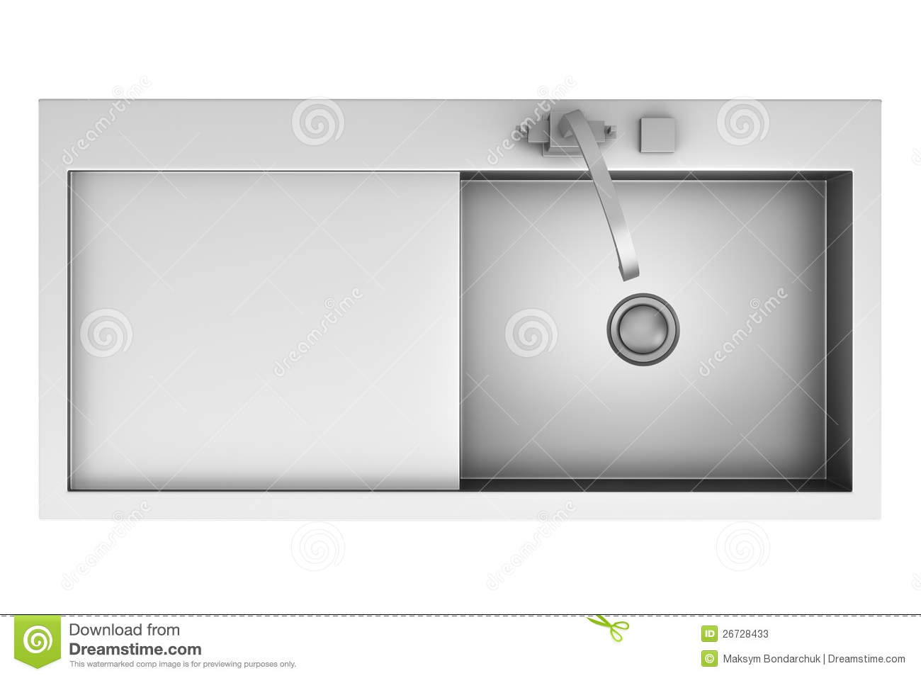 Top View Of Modern Metal Sink Isolated On White Stock