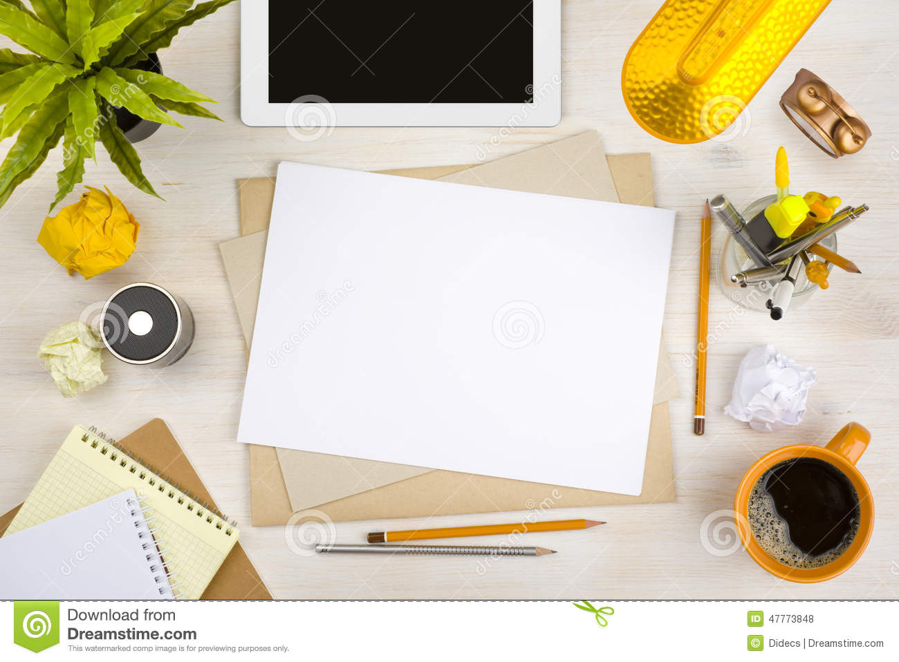 Top View Of Office Desk With Paper Stationery And Tablet Computer Stock Photo Image Of Copy Paperwork 47773848